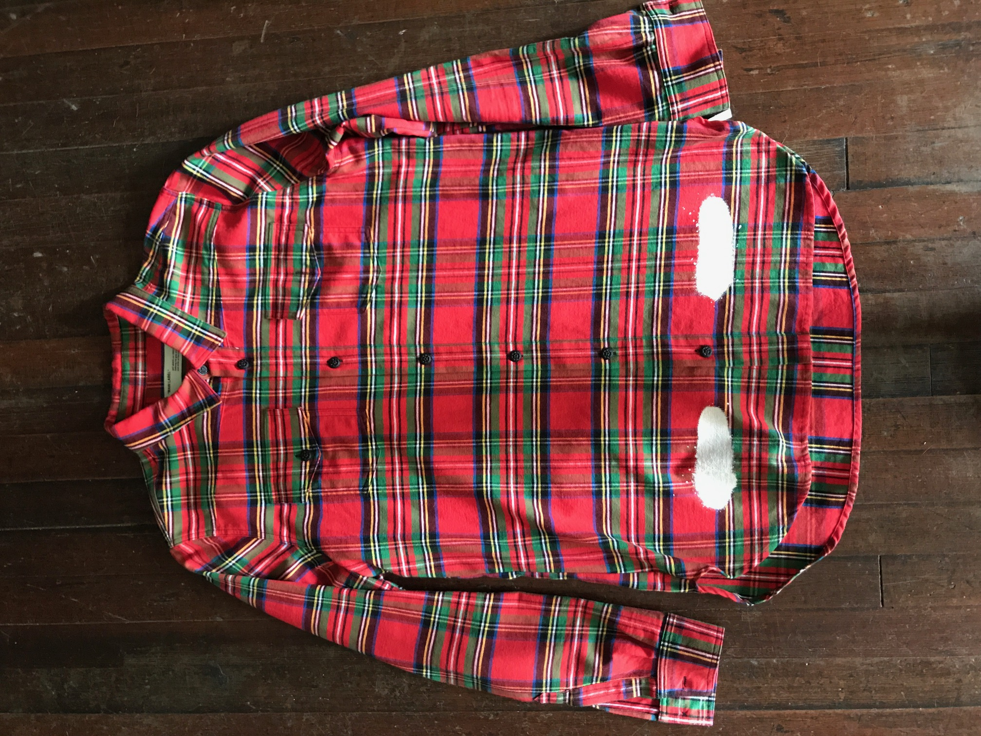 2cf92c989b02 Off-White Off White Red Check Flannel Diagonal Spray Size l - Shirts  (Button Ups) for Sale - Grailed