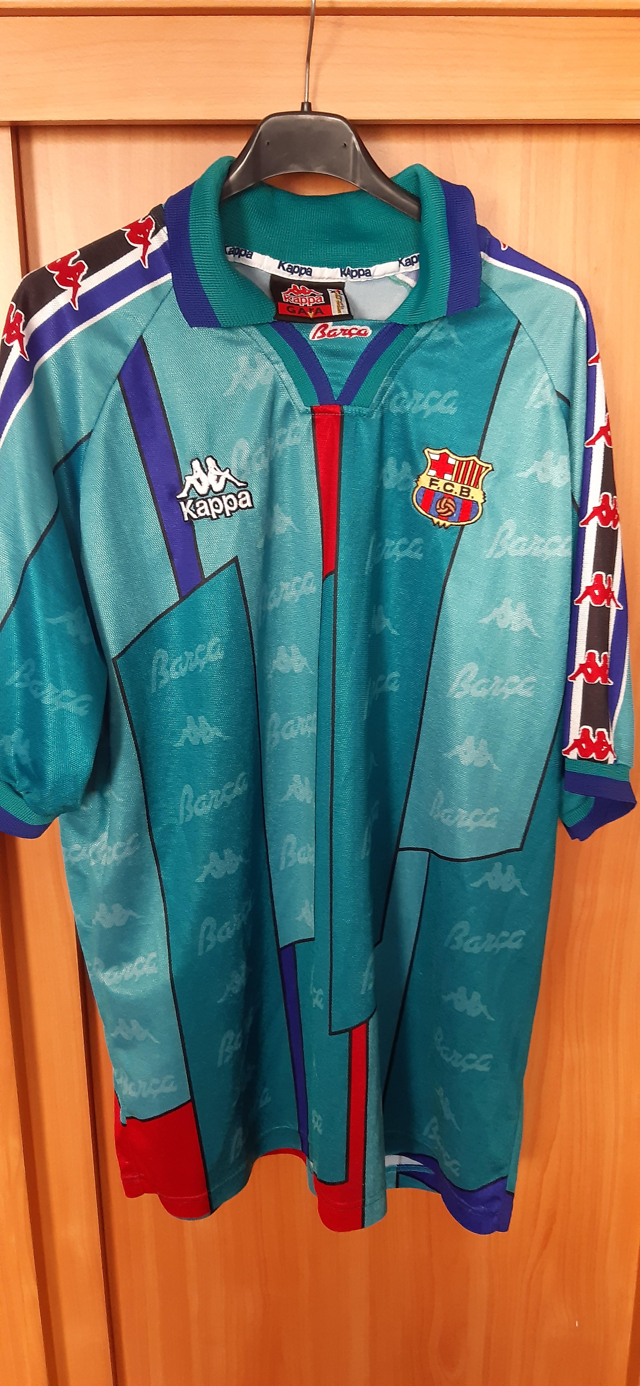 new styles 79ac0 ea4c1 1995-97 Barcelona Kappa Away Football Soccer Jersey XL