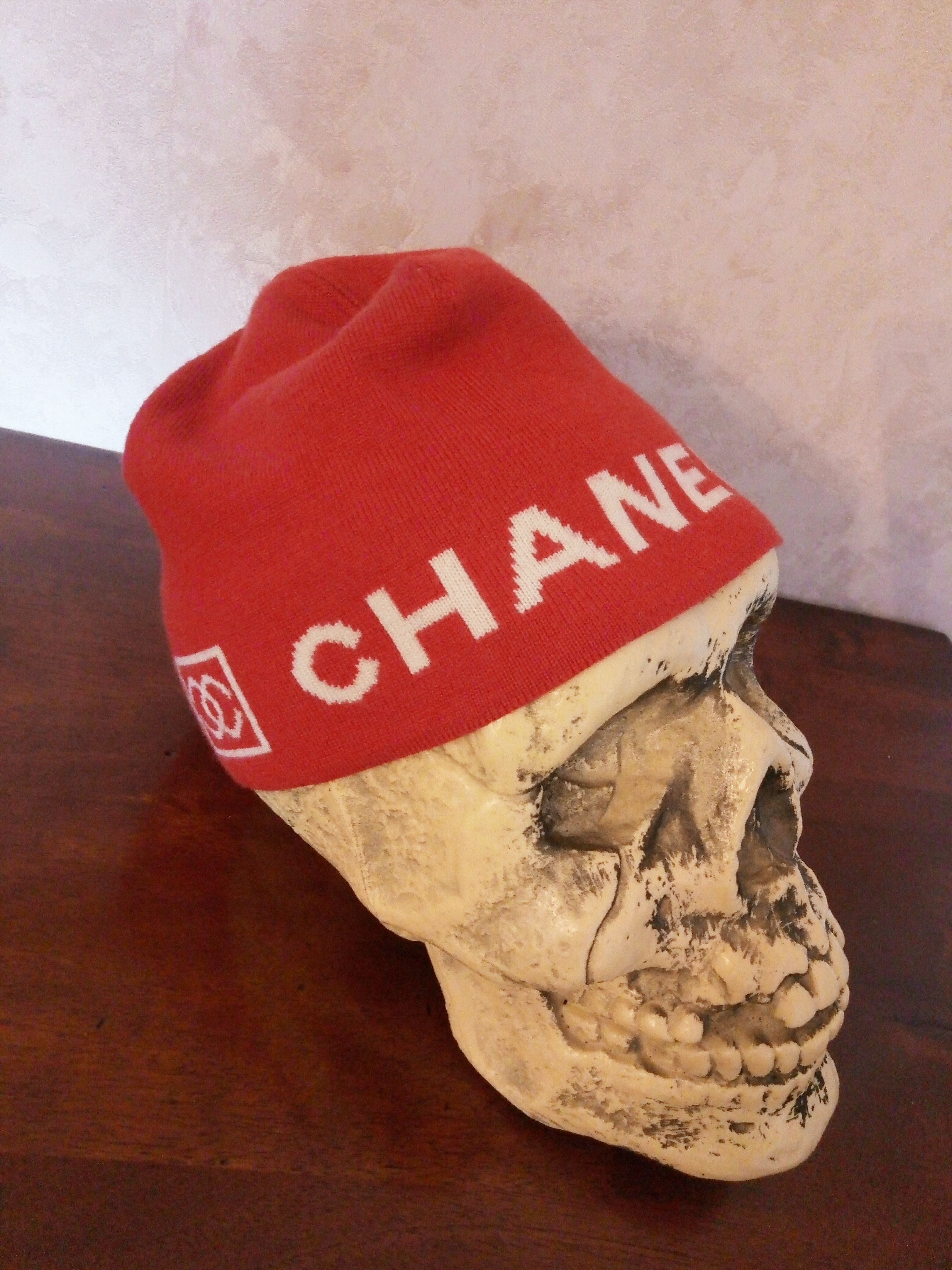 Chanel CHANEL Red and White Beanie Box Logo Monogram Hat Cap ... f95d2df2135