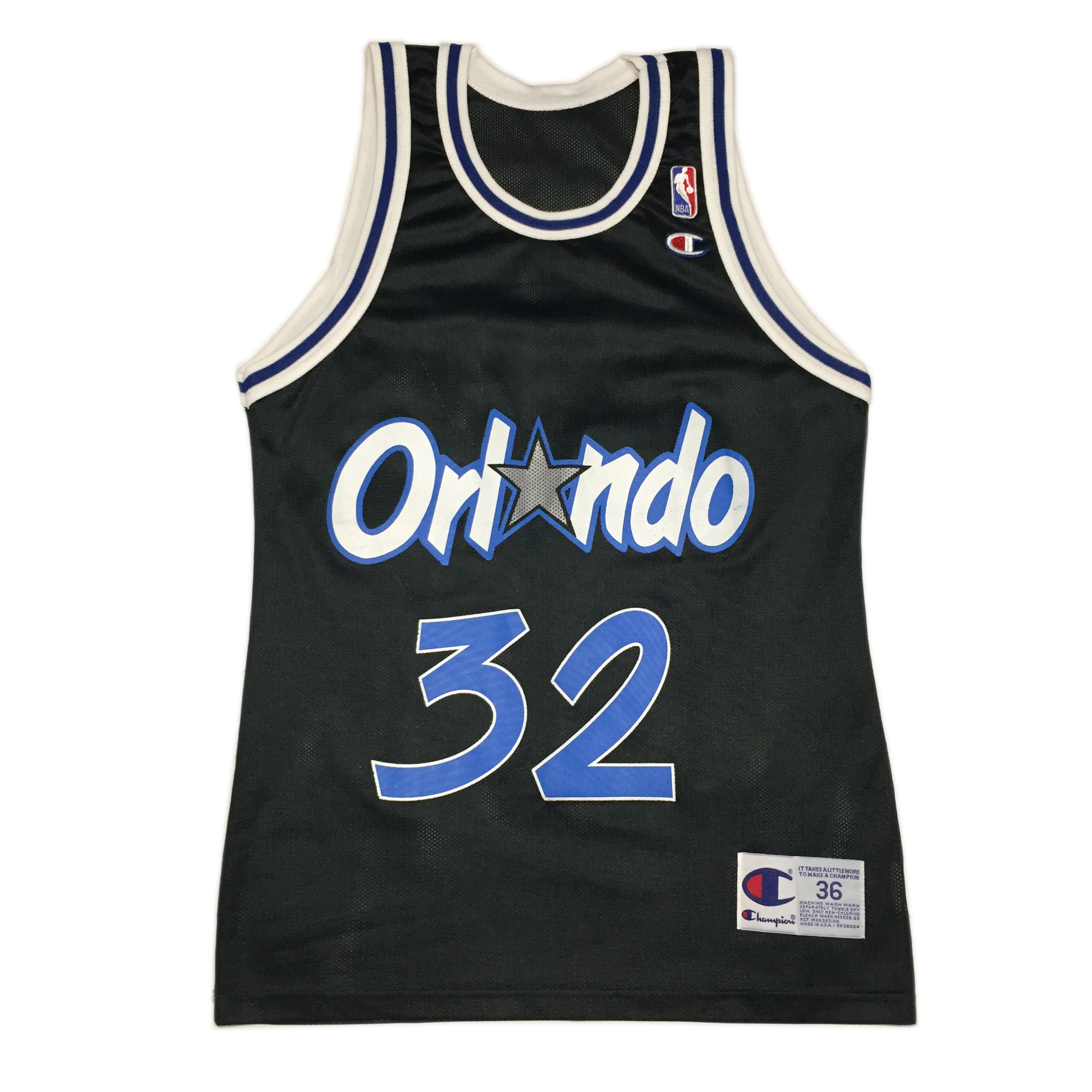 4d4bd3a1d8f Champion ×. VINTAGE CHAMPION SHAQUILLE O'NEAL SHAQ 32 ORLANDO MAGIC JERSEY  IN BLACK