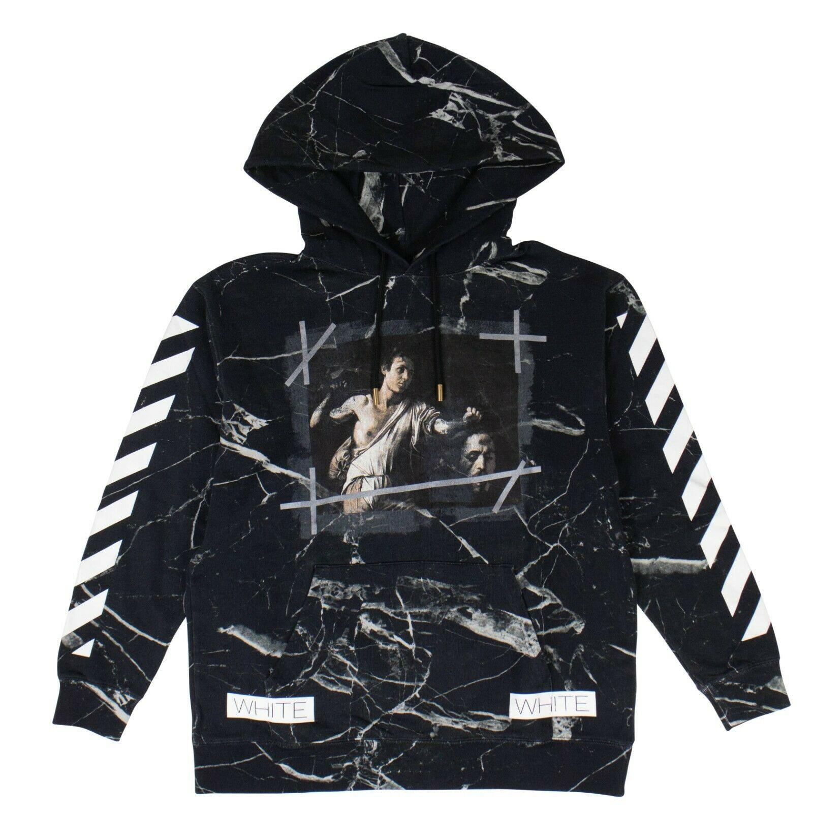 Off White Black Marble Hoodie Sweatshirt Size S Grailed