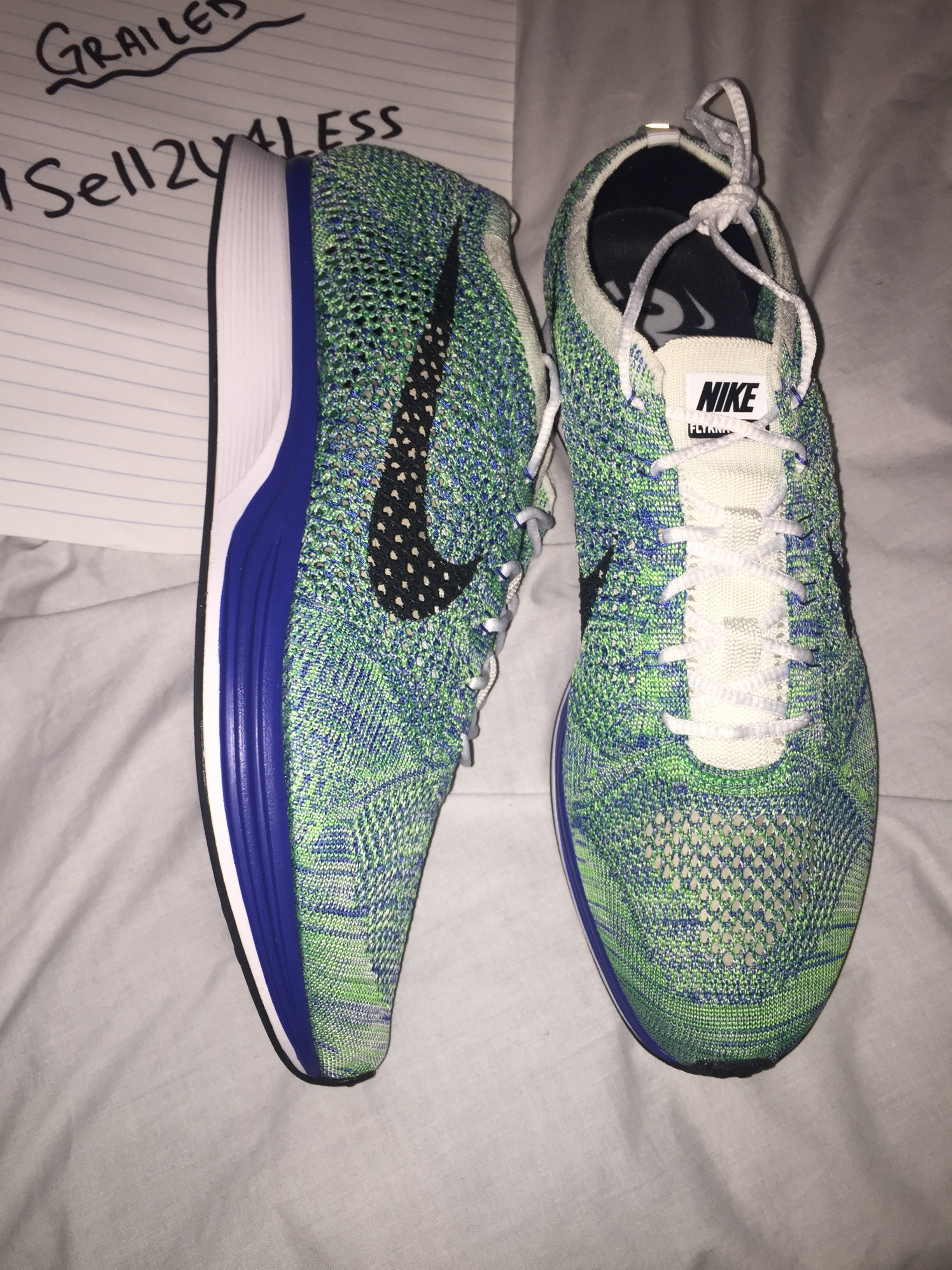 458ea58c9fadf Nike Nike Flyknit Racer Tranquil Green Blue White Unisex Running ...