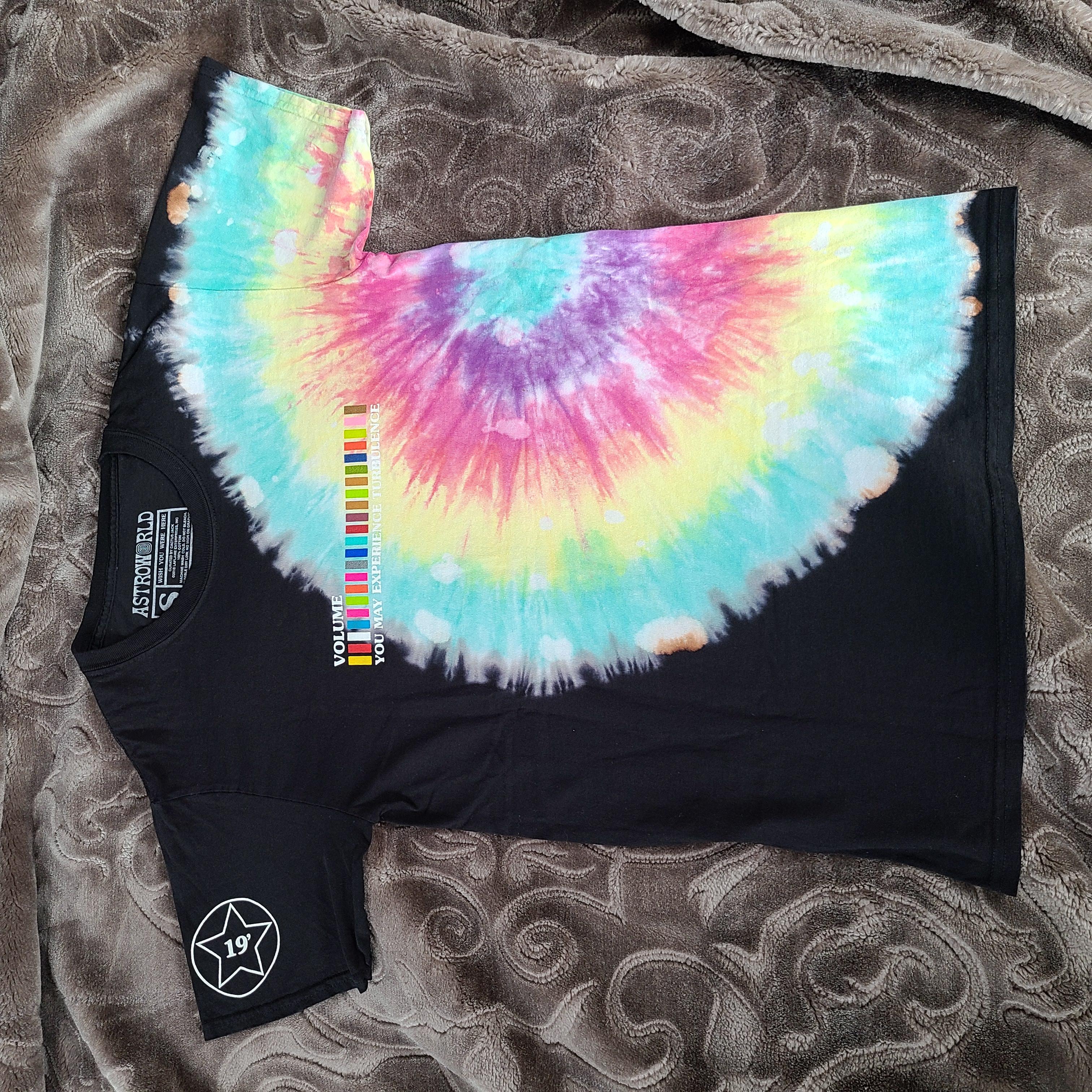 INS Travis Scott Astroworld Festival Run Tie Dye Tee TOUR T-SHIRT Casual Shirt