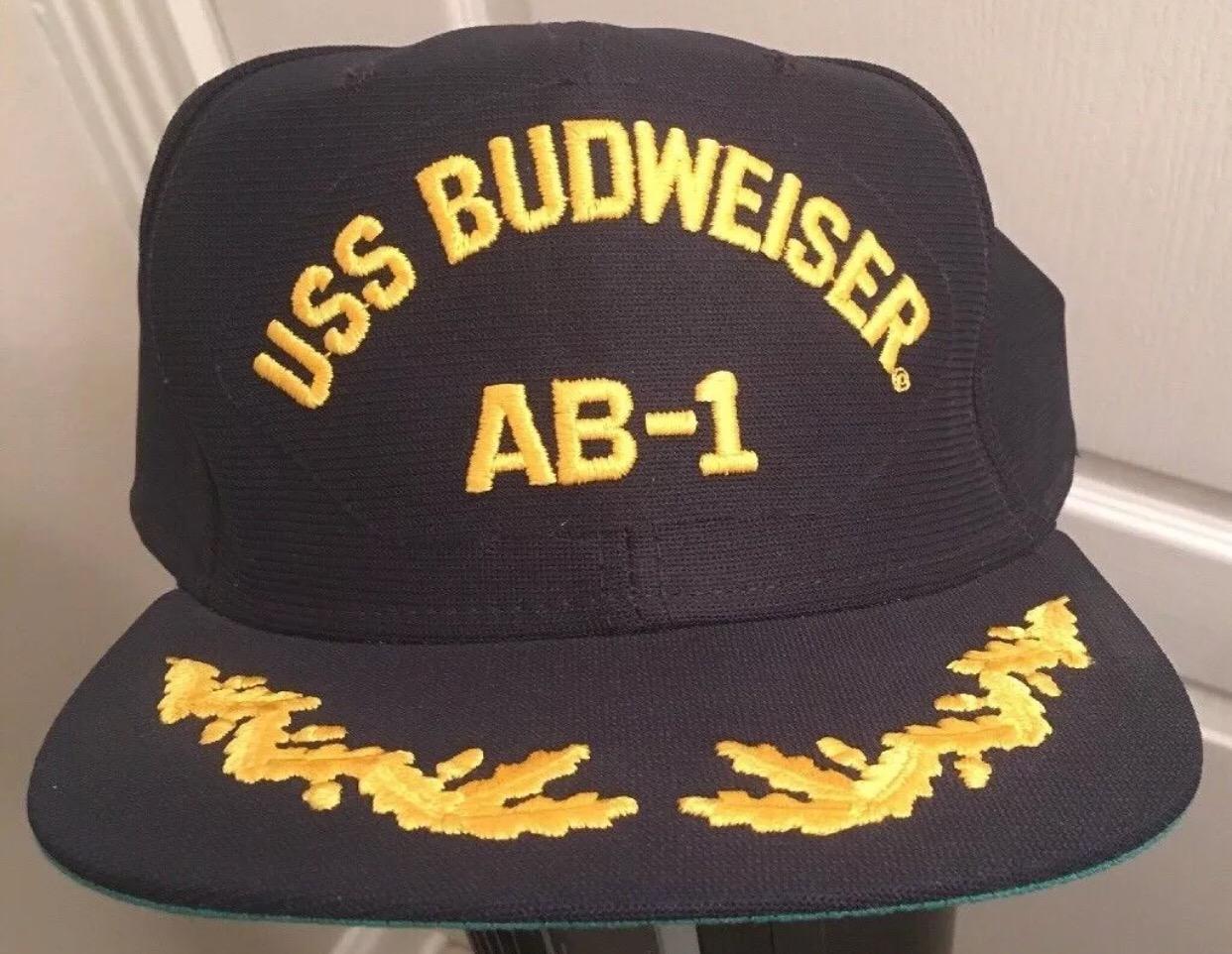 4944f6c1d8b New Era. Vintage New Era USS Budweiser Black   Yellow Navy Style SnapBack  Cap Hat
