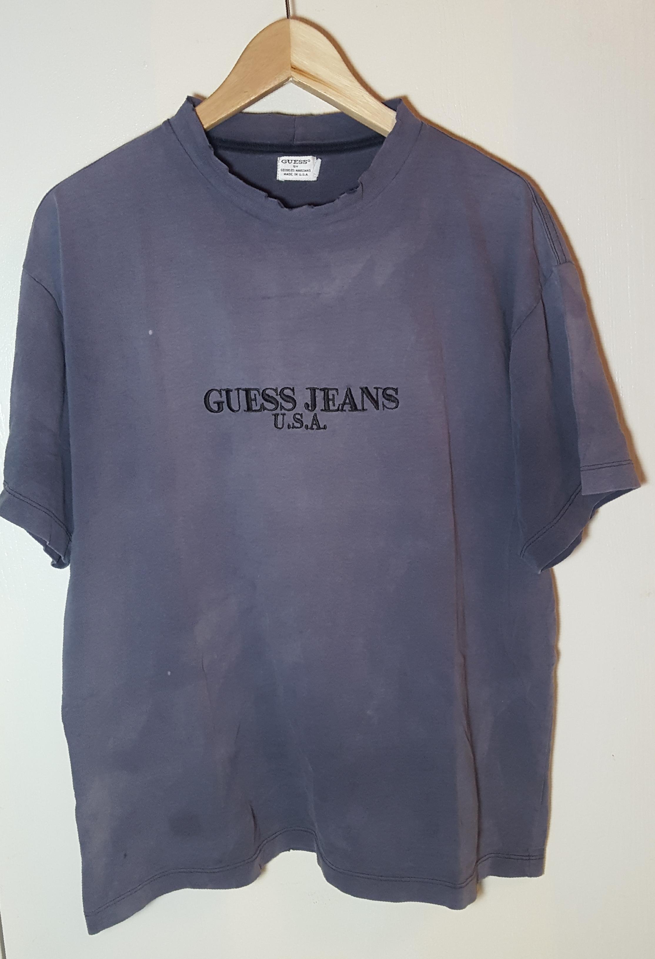 5e4e4c51a43f Vintage Vintage Guess Jeans Overdyed Black Embroidered T Shirt Men Sz M |  Grailed