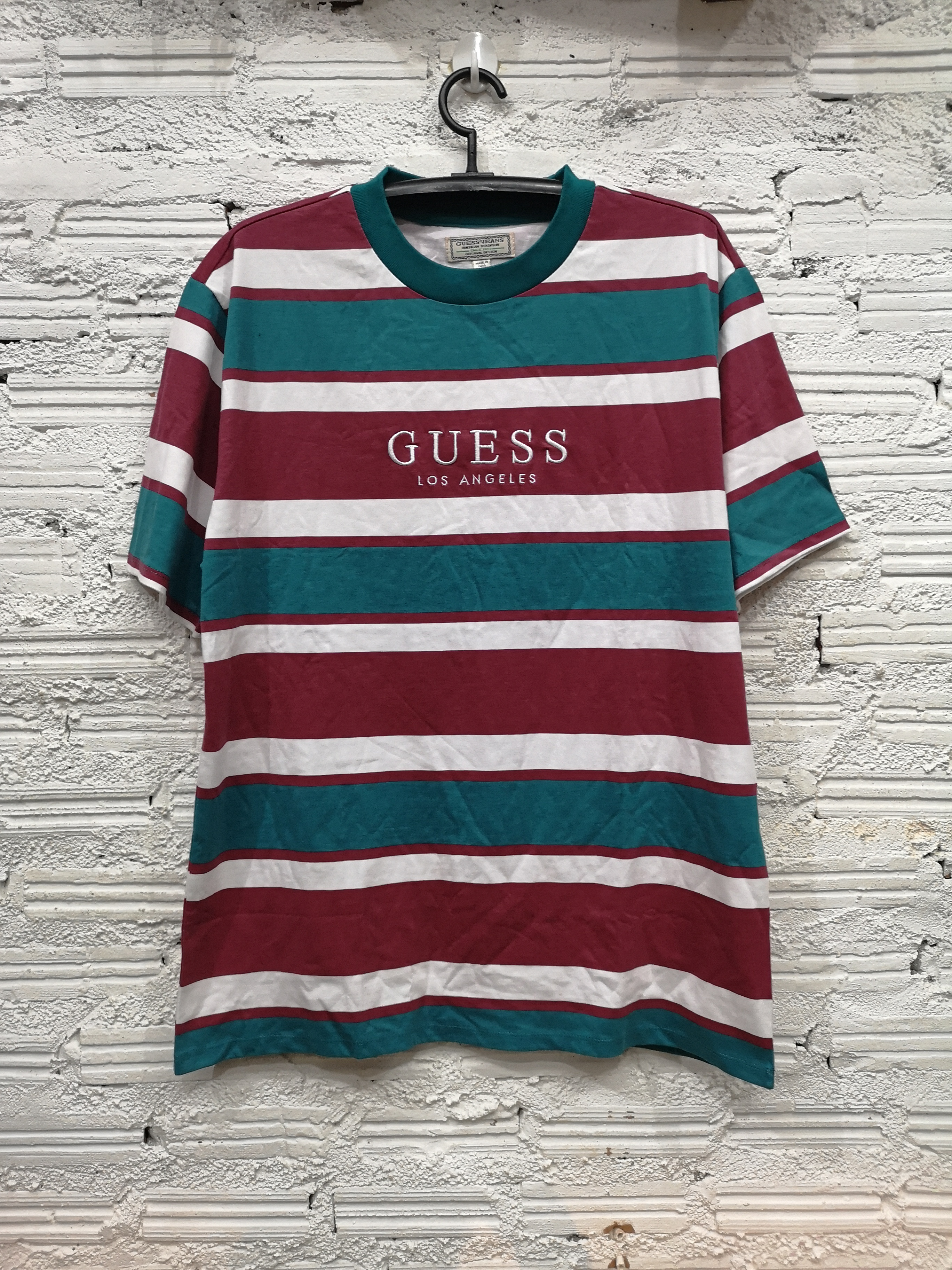 3f6428df14 Guess Guess Jeans Los Angeles Striped T Shirt Capsule Tee Red Teal ...
