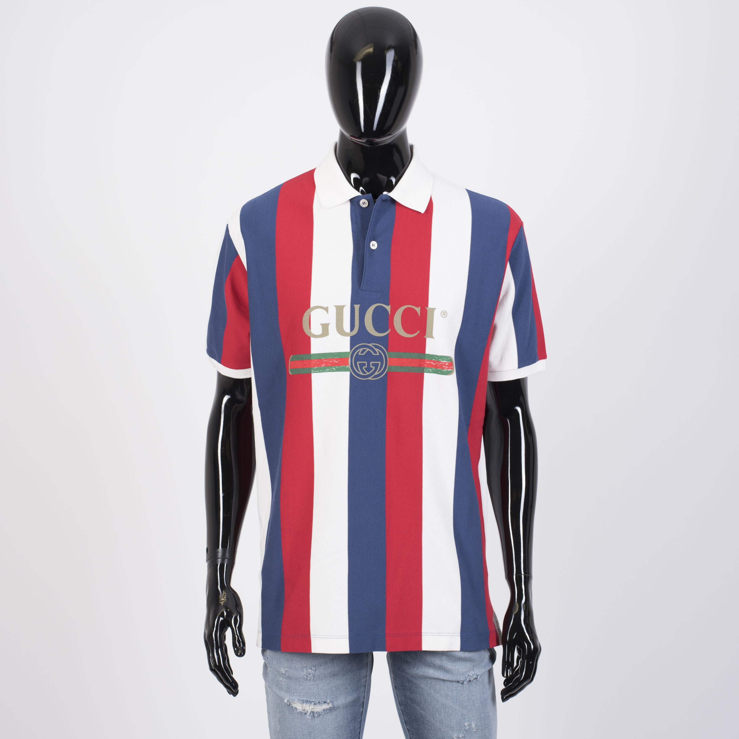 7e8d8650f Gucci Baiadera Logo Polo Shirt In White, Blue & Red Striped Cotton Piquet |  Grailed