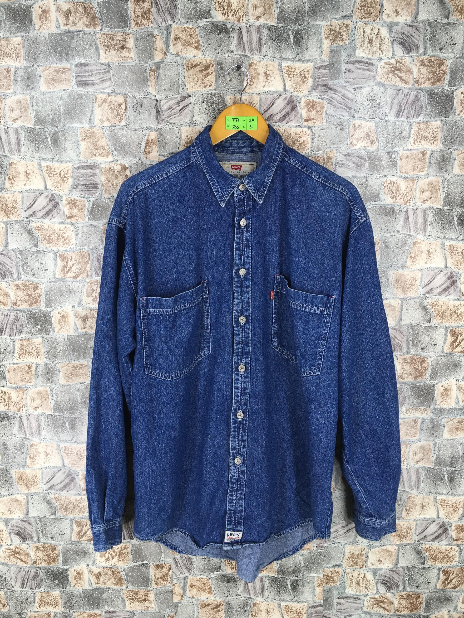 7eba1298e75 Levi s ×. LEVIS Strauss Denim Shirt Men Women Medium Vintage 90 s Levis  Jeans Grunge Style Western Shirt Buttondown Workers Denim Blue ...
