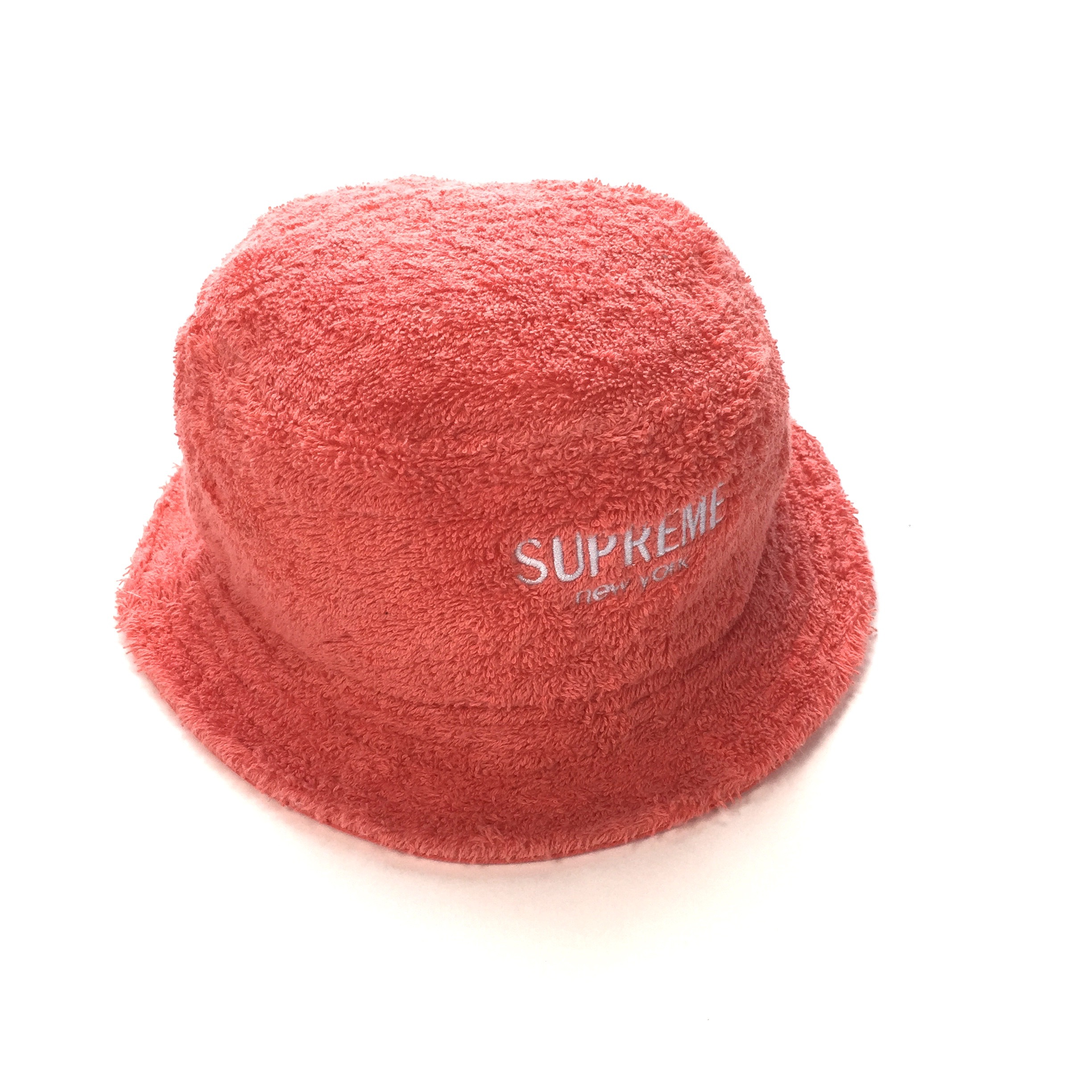 724affd4 Supreme Coral Logo Terry Crusher Bucket Hat Ds | Grailed