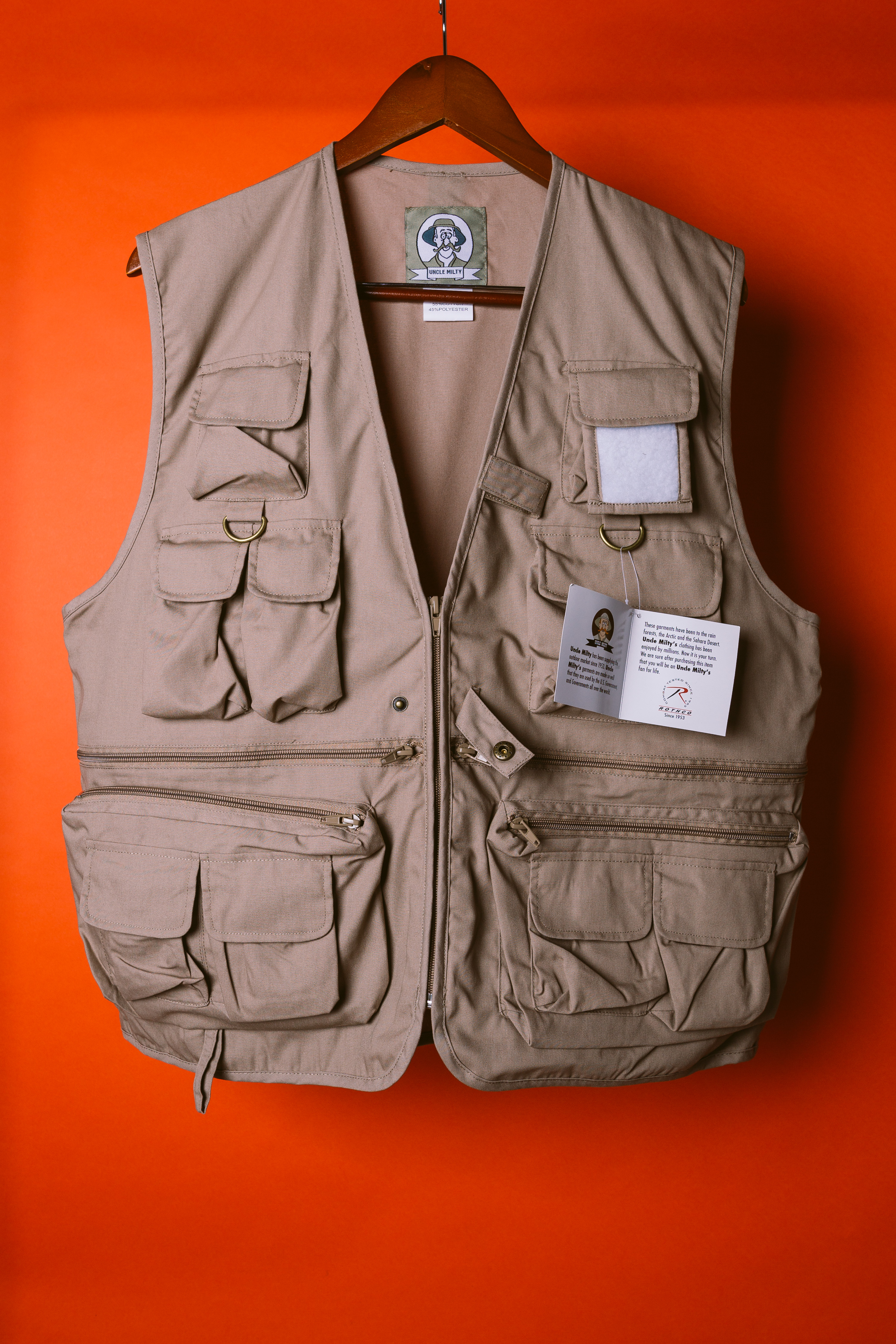adbb8cdc0 Rothco Uncle Milty Tactical Hunting Fishing Vest Cargo Tan Military ...