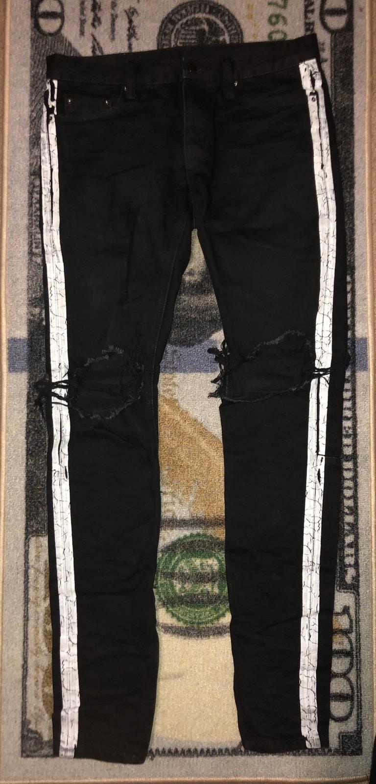 MNML Black & White Side Stripe Distressed Jeans