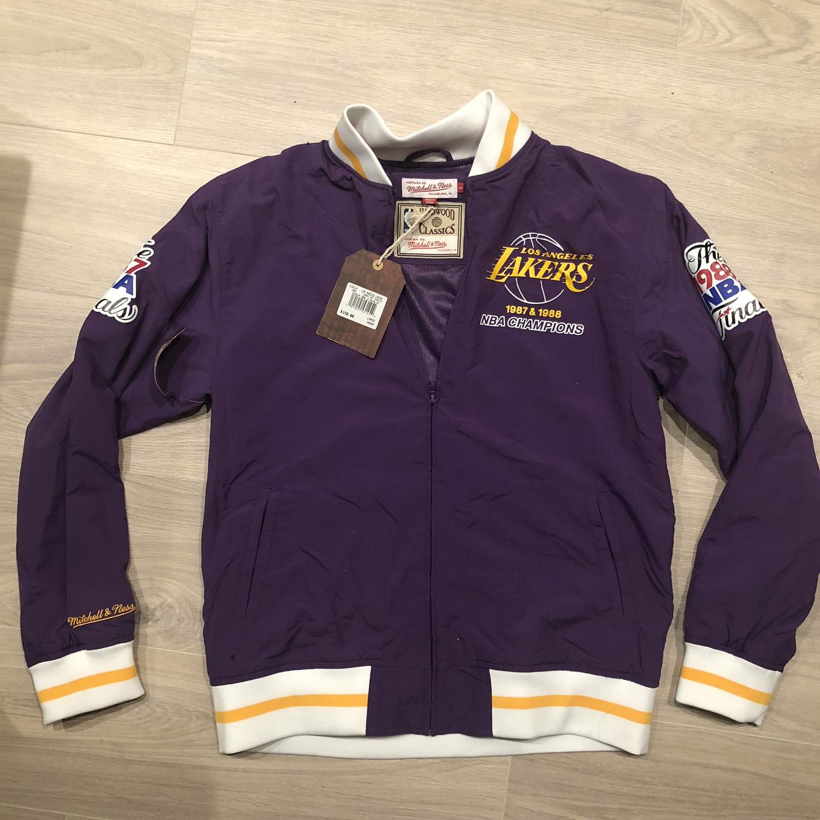 3ab6745d Mitchell & Ness Lakers Warm Up Jacket Size l - Light Jackets for Sale -  Grailed