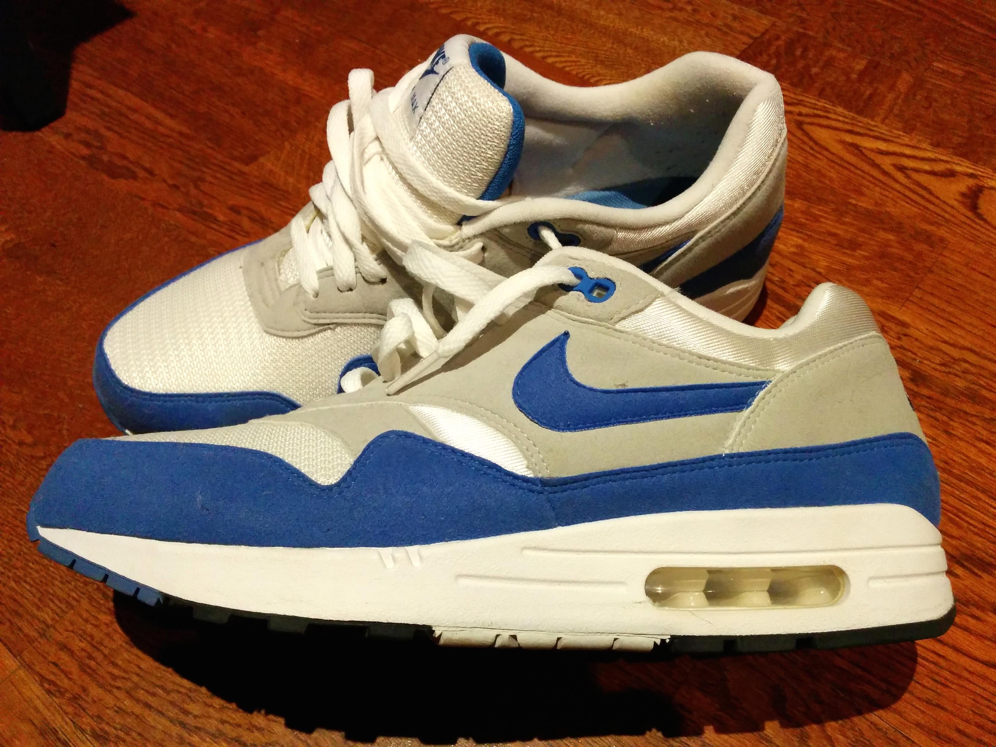 d6e4c9059f Nike Nike Air Max 1 White/varsity Blue-neutral Grey-white #378830 ...