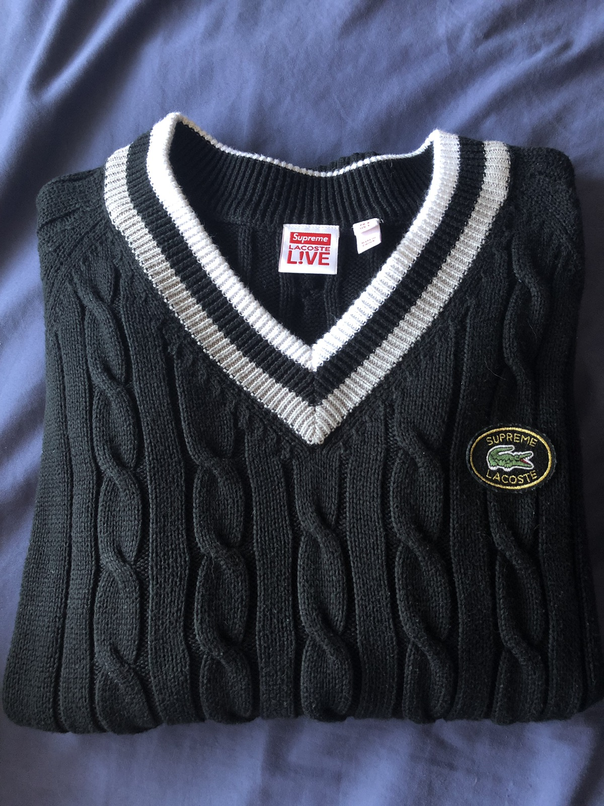 Men S Tennis Sweater From Supreme Lacoste Grailed