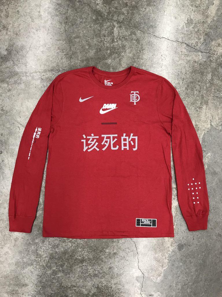 escapar sol Conquista  Nike Tde X Nike Swoosh Long Sleeve Tee Red   Grailed