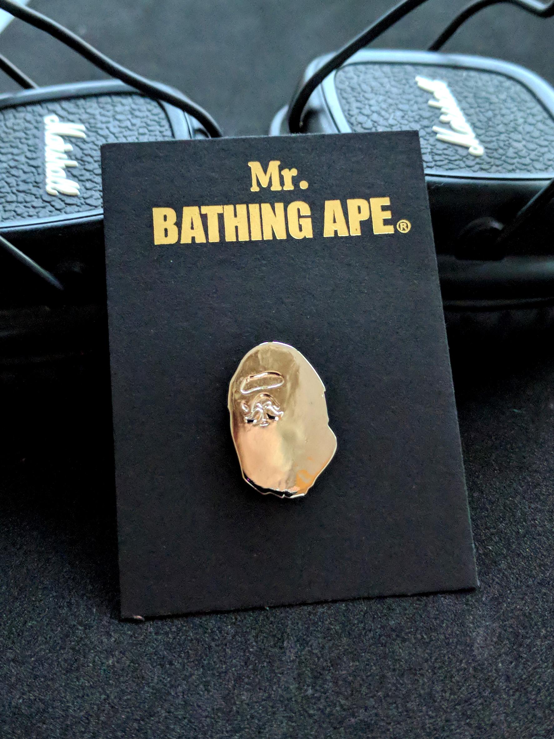 ac0722bb Bape Mr. Bathing Ape Head Logo Silver Pin | Grailed