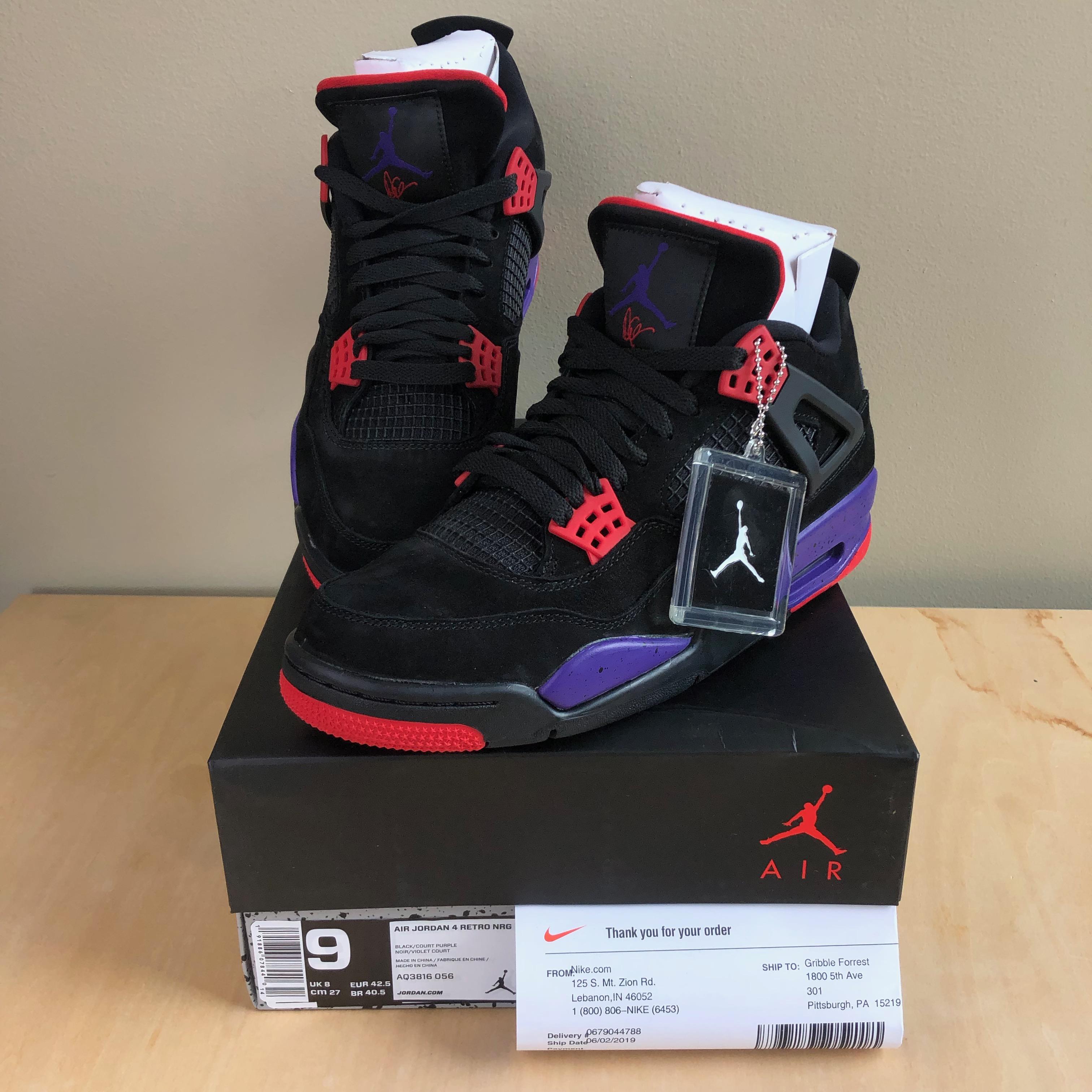meet 5711b ba720 Nike Air Jordan 4 IV NRG Sz 9 Drake OVO Raptors Black Court Purple  AQ3816-056