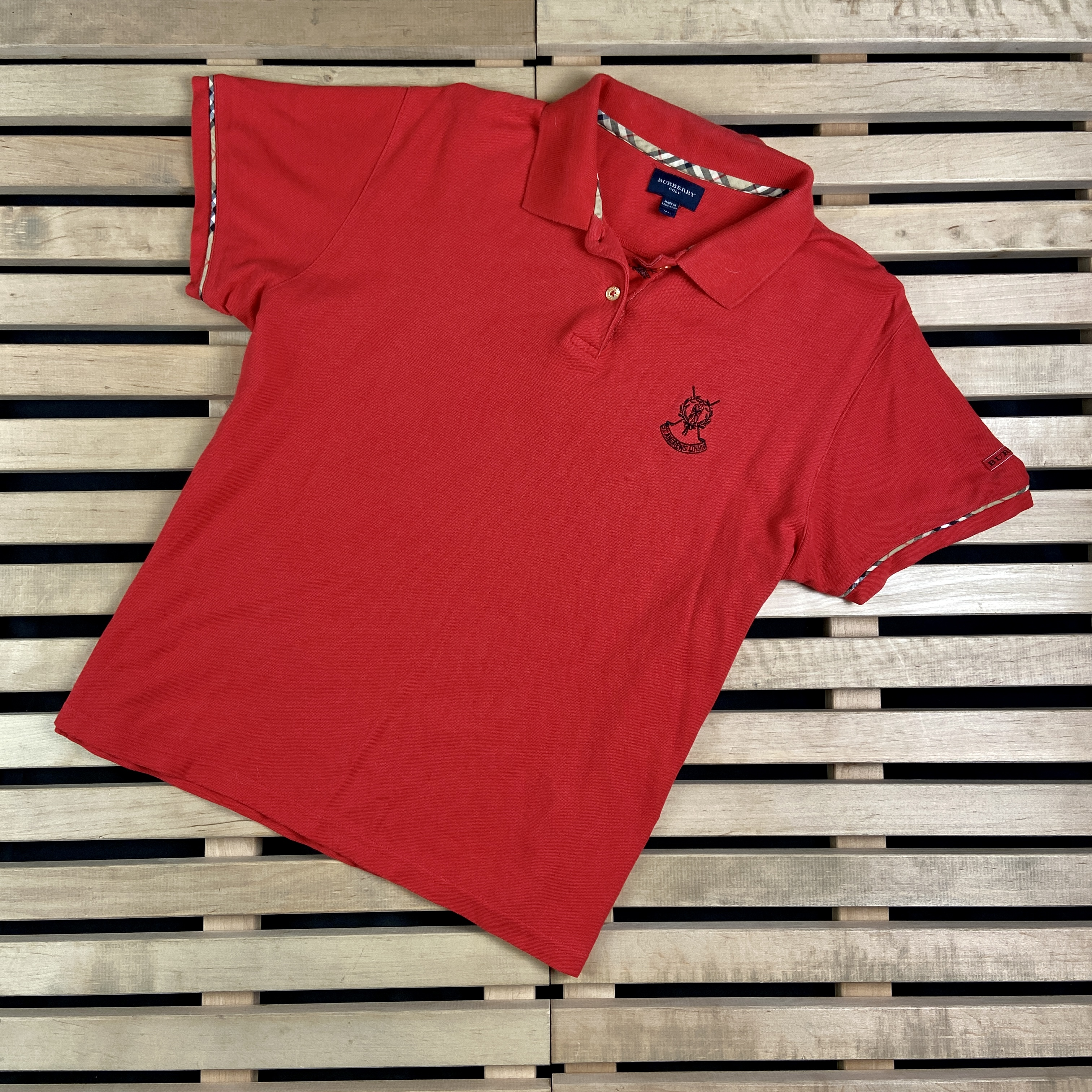 Burberry Mens Polo T Shirt Burberry Golf Size XL Red