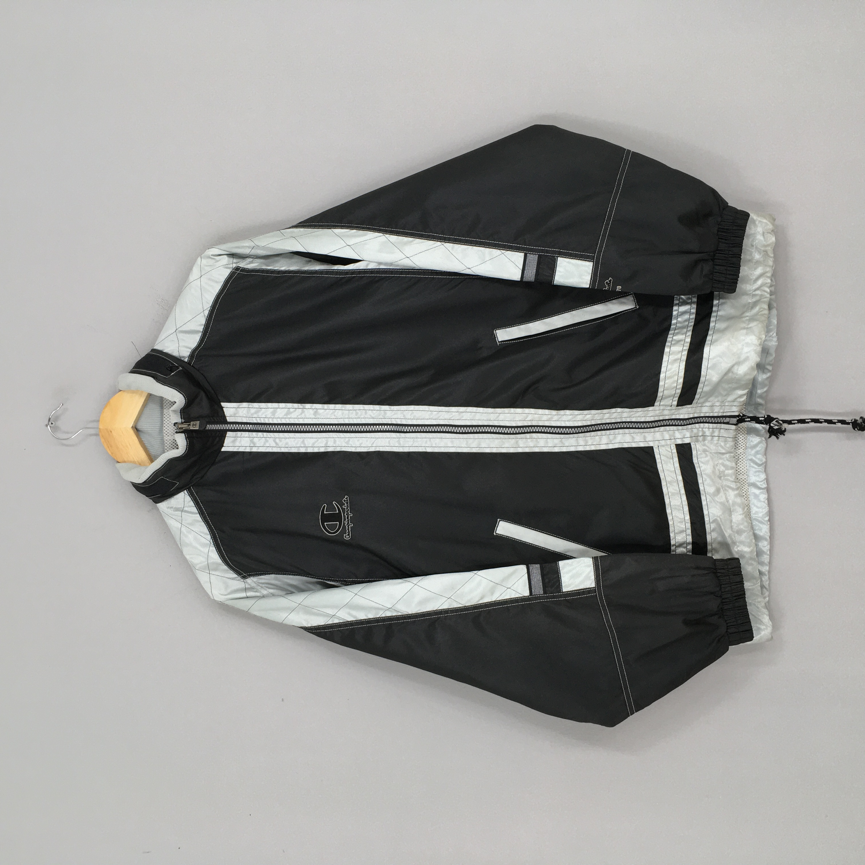 Vintage 90s Champion Jacket Windbreaker Large Women Champion Sportswear Blue Track Top  Champion Windrunner Zipper Coats Size L