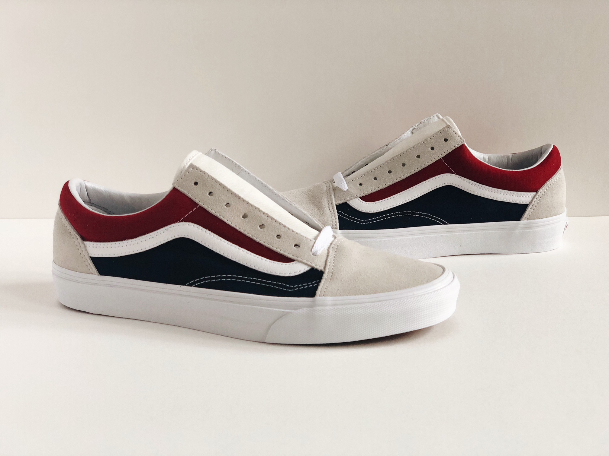 VANS OLD SKOOL RETRO BLOCK [SZ 9] COLOR BLUE RED YACHT CLUB WHITE VN0A38G1QKN