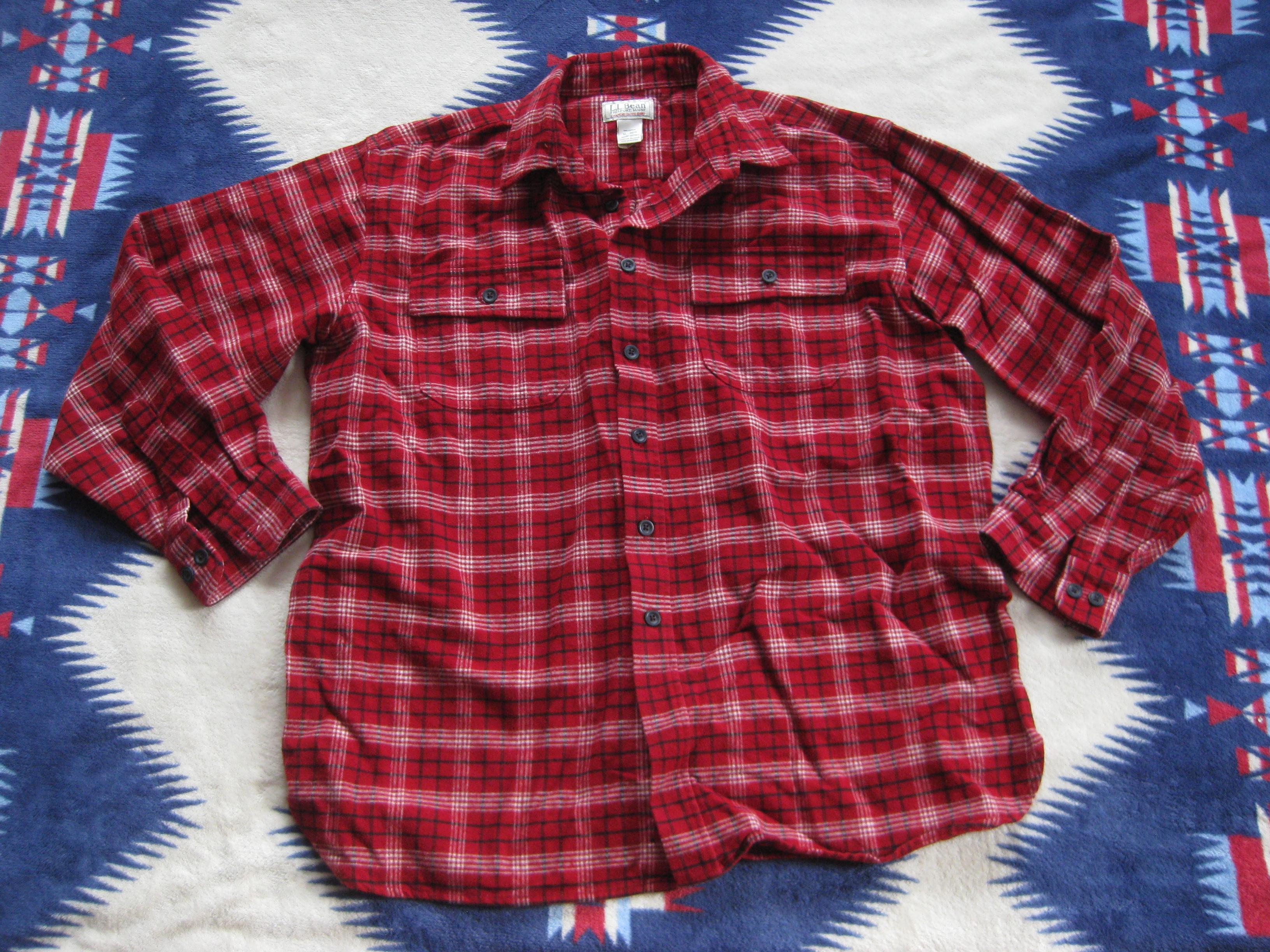5c730d13bce L.l. Bean Vtg L.l. Bean Chamois Flannel Shirt Xl Red Plaid Usa Ll ...