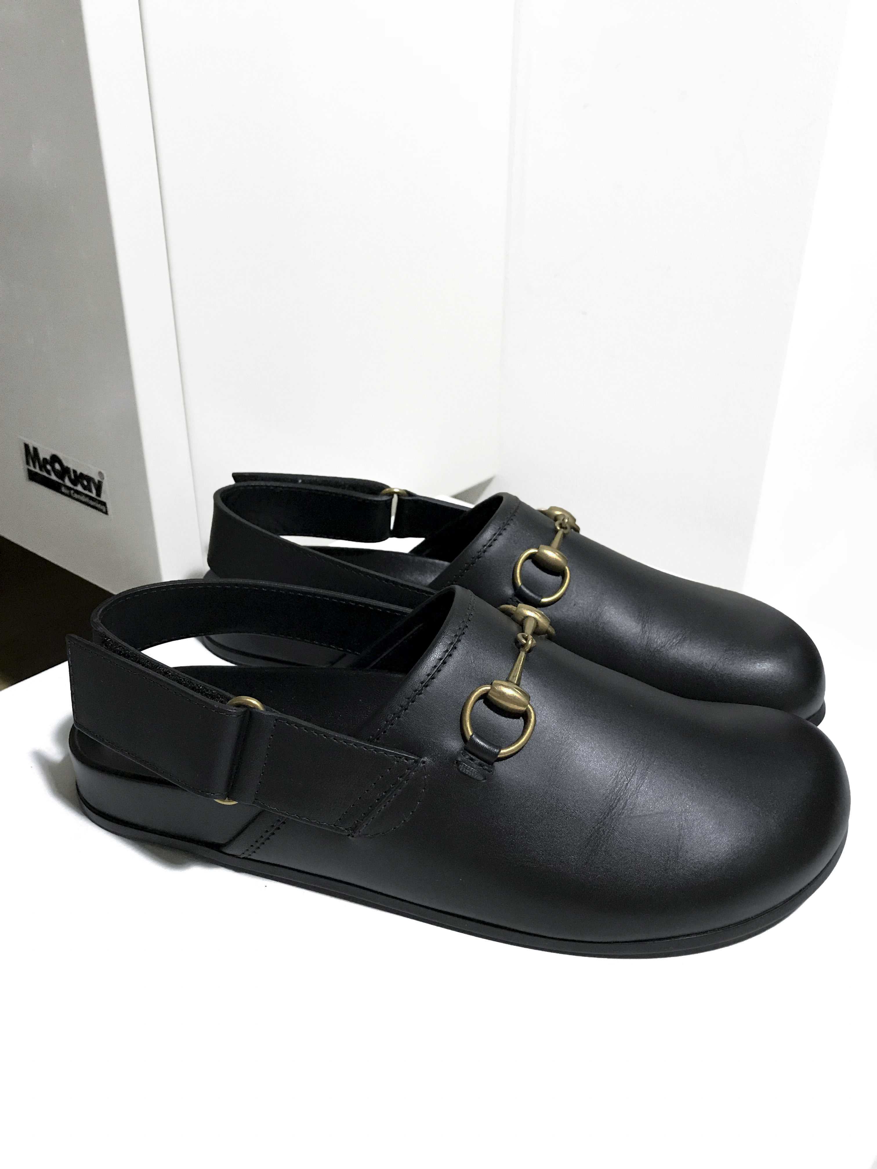 69a5a6b25 Gucci ×. Black Leather Horsebit River Slingback Mules Clog Slide Princetown