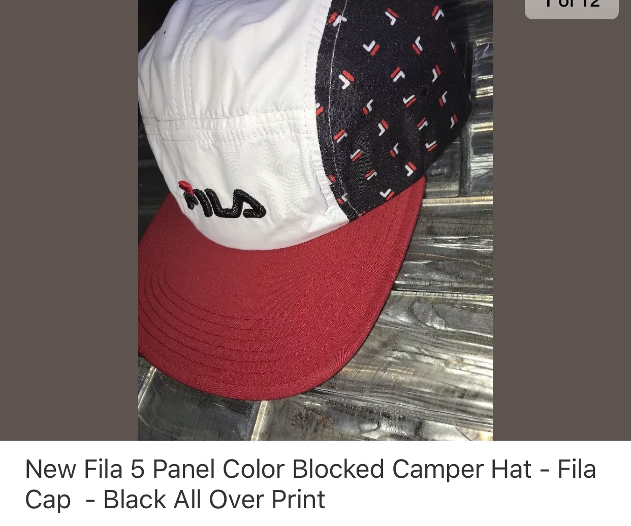 12f8f9f3566 Fila Five Panel Camp Hat All Over Print Size one size - Hats for Sale -  Grailed