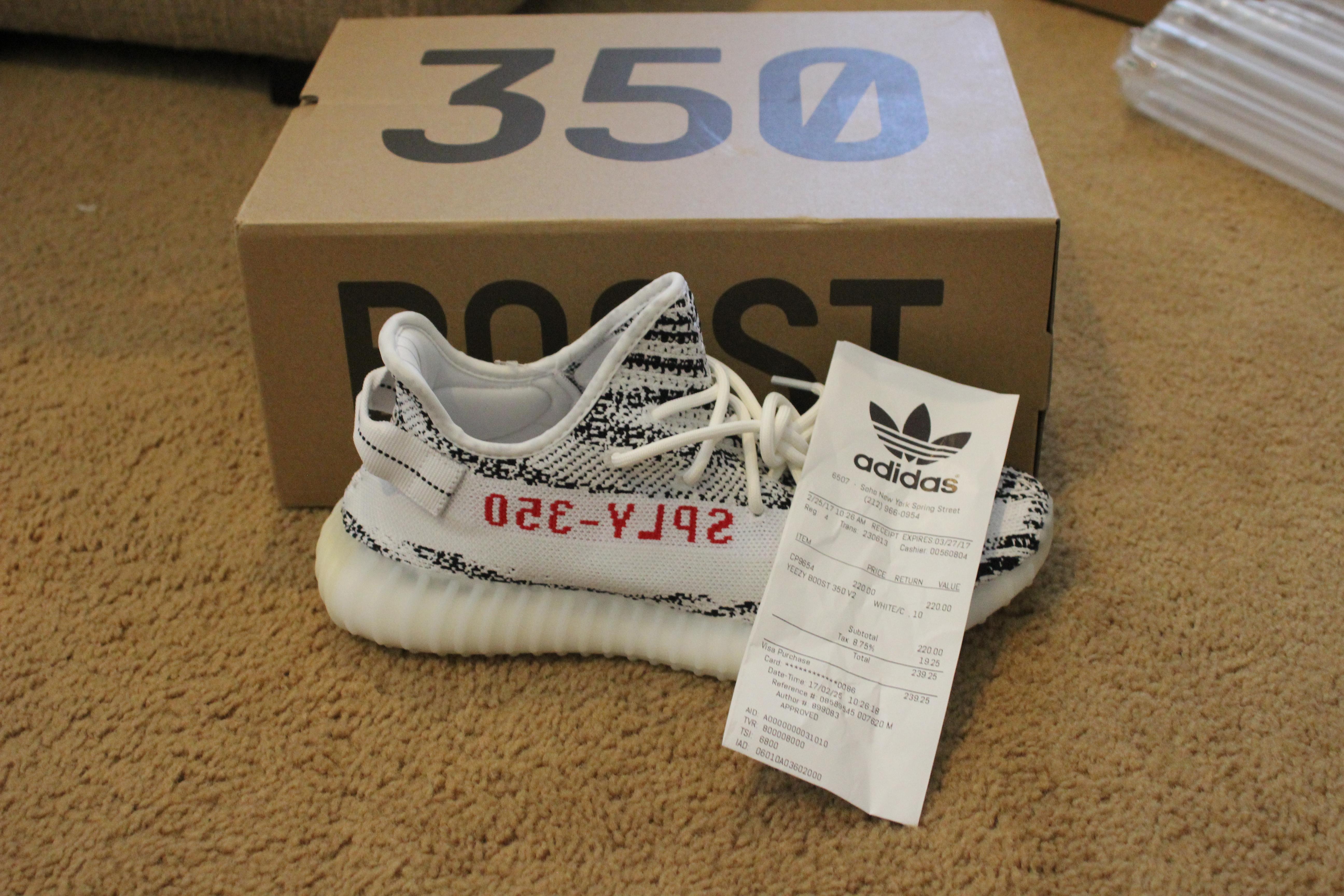5383a7cd1 Adidas Kanye West Yeezy Boost 350 V2 Zebra W Receipt Size 10 - Low ...