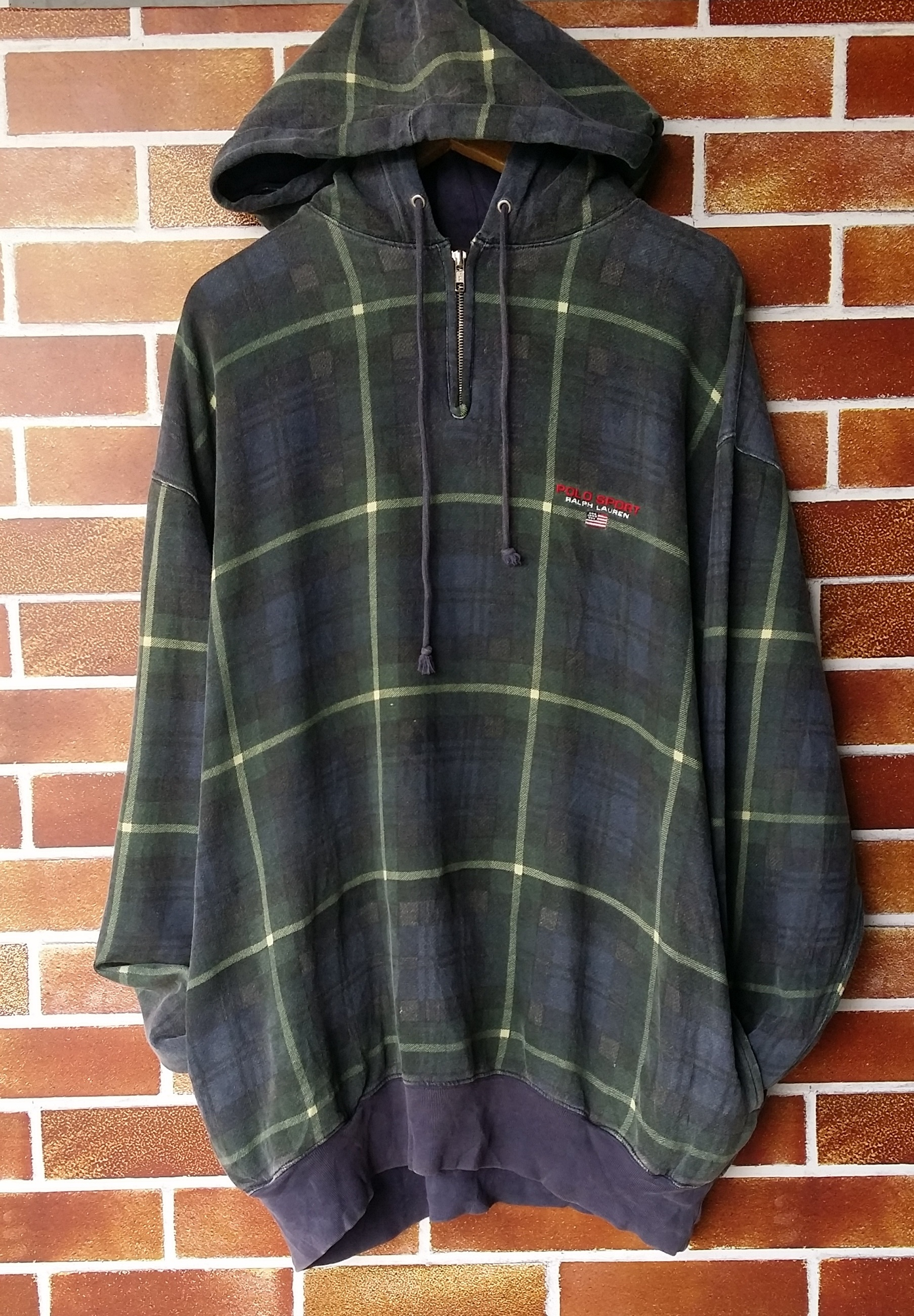 56013317a Polo Ralph Lauren ×. Rare!! Vintage 90 s Checked Polo Sport Script Logo  Spellout with USA Small Flag Hoodie Sweatshirt. Size  US XL ...