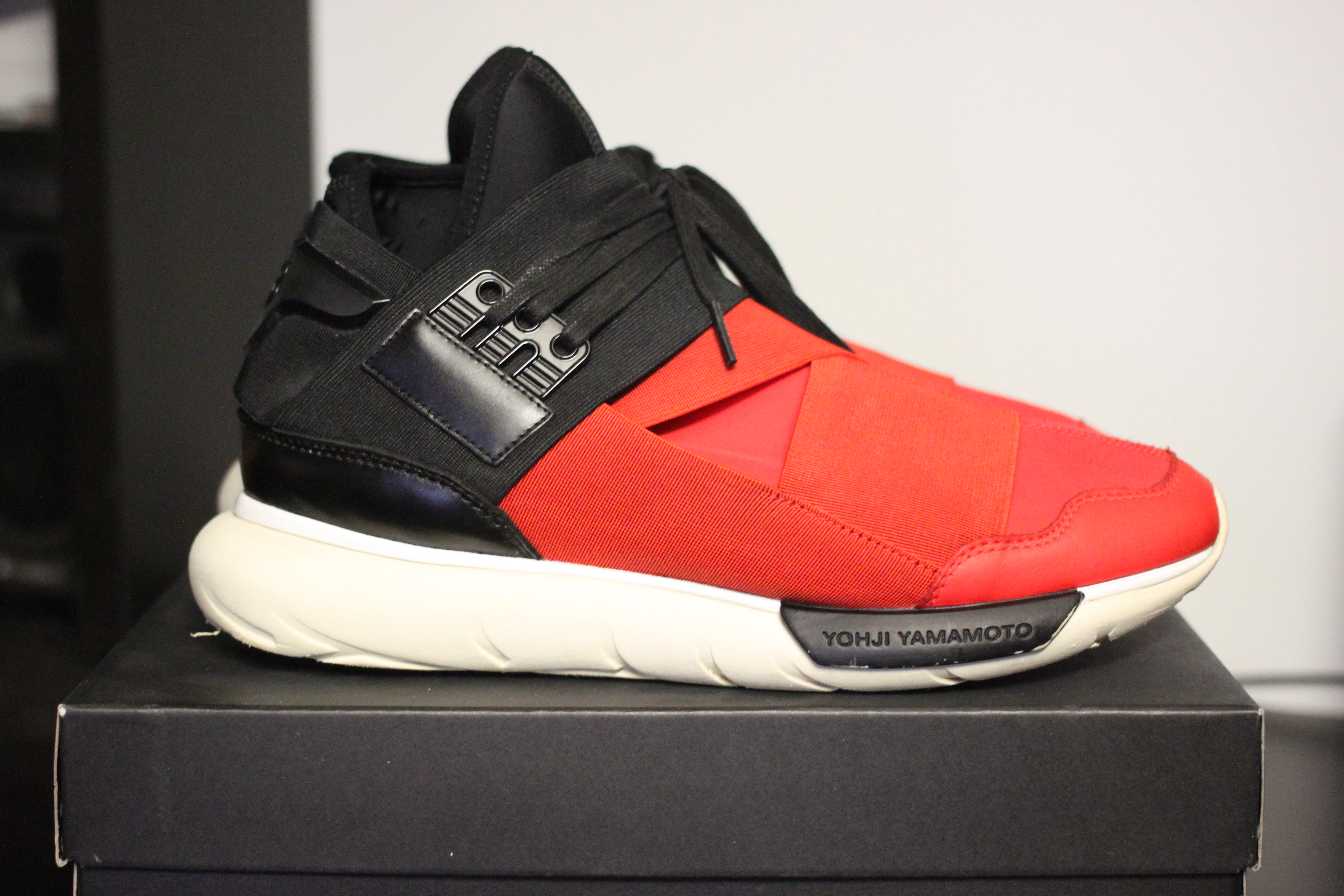46b3e75b67ed1 Y-3 Y3 Qasa High Red Black Size 8.5 - Hi-Top Sneakers for Sale - Grailed