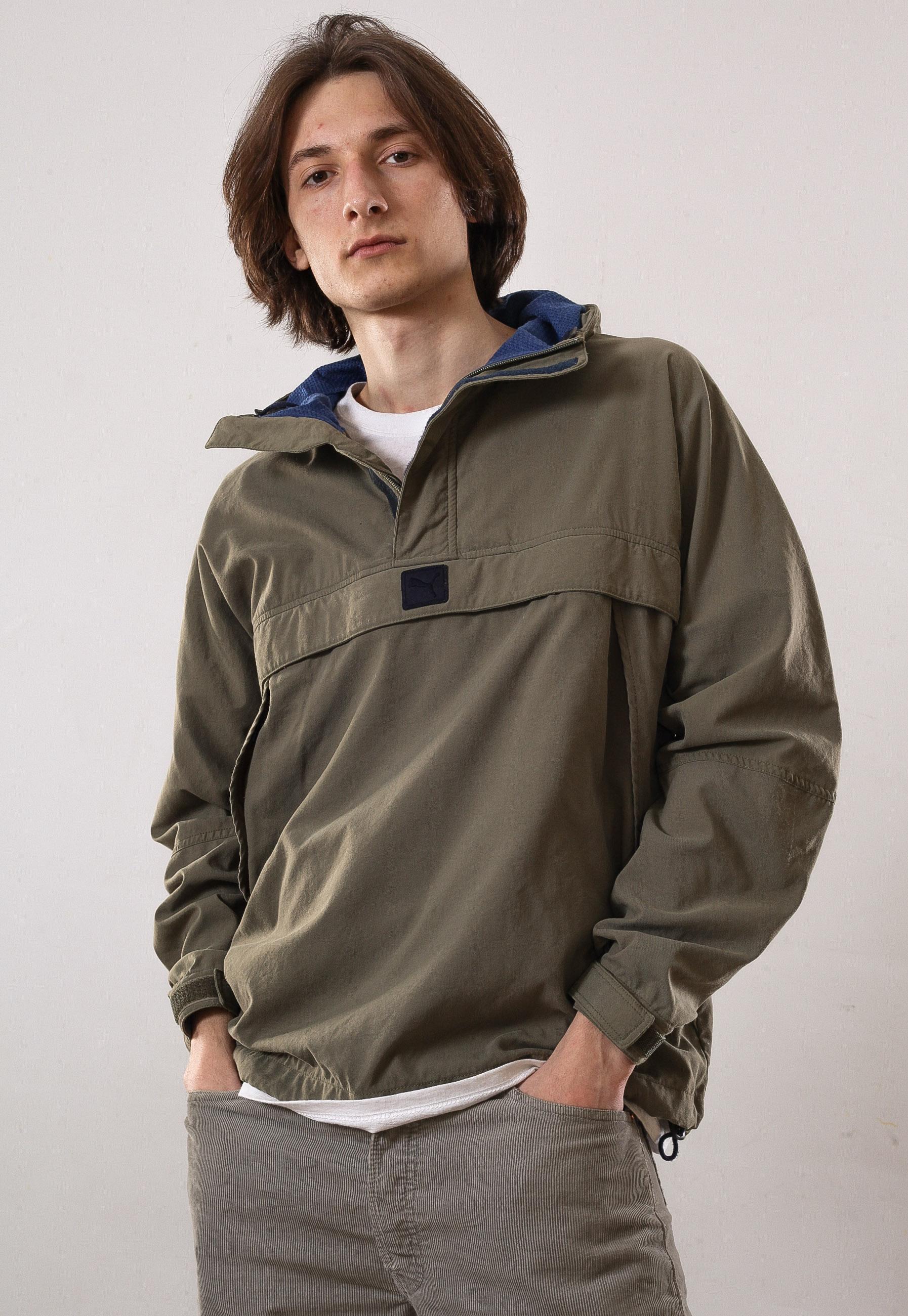 29c99c149239d А0525JK - 90's Vintage mens PUMA Pullover Windbreaker Half Zip Jacket  Anorak Coat