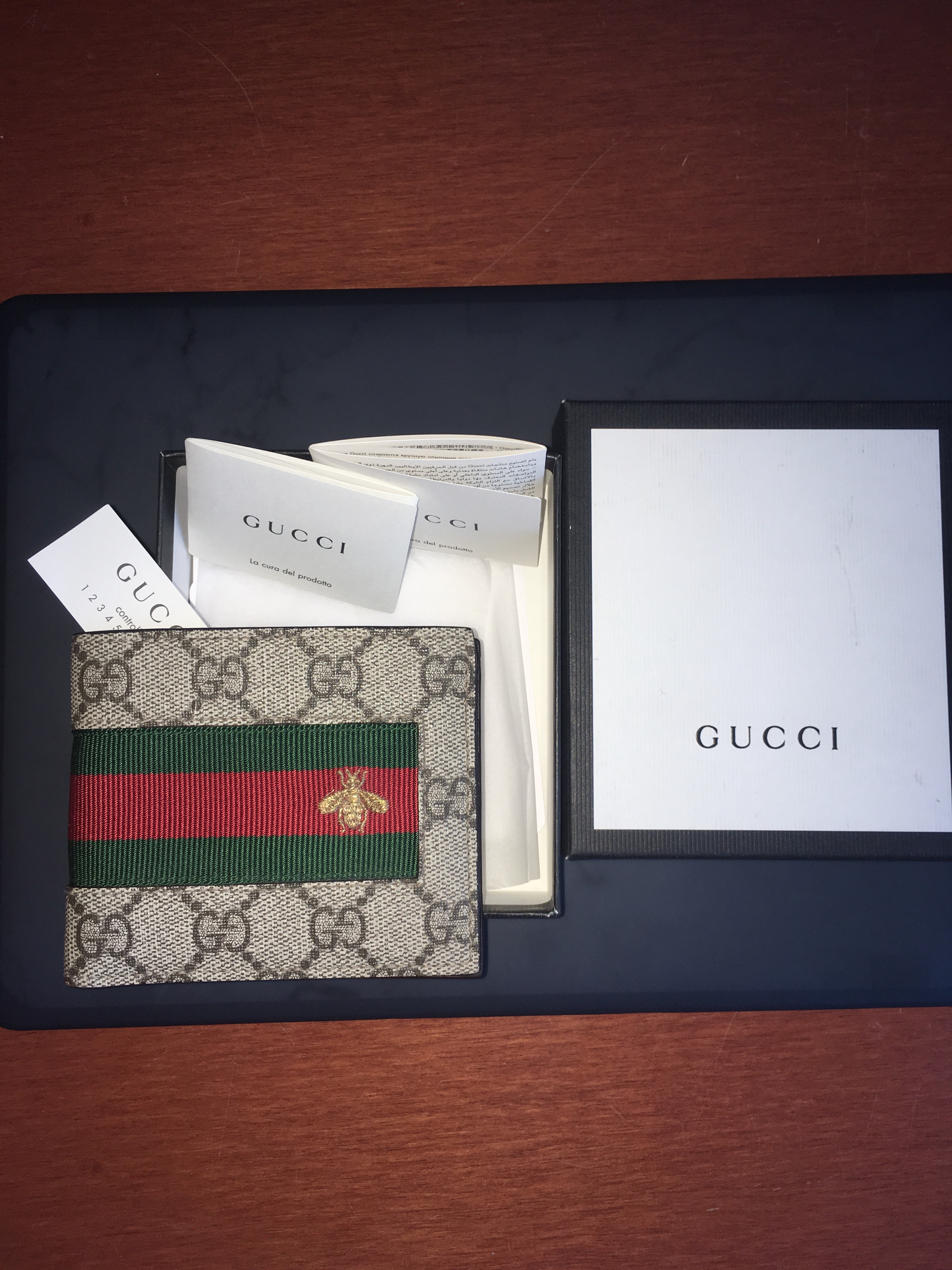 265f4e95983 Gucci Web GG Supreme Bi-Fold Wallet with Bee Size one size - Wallets for  Sale - Grailed