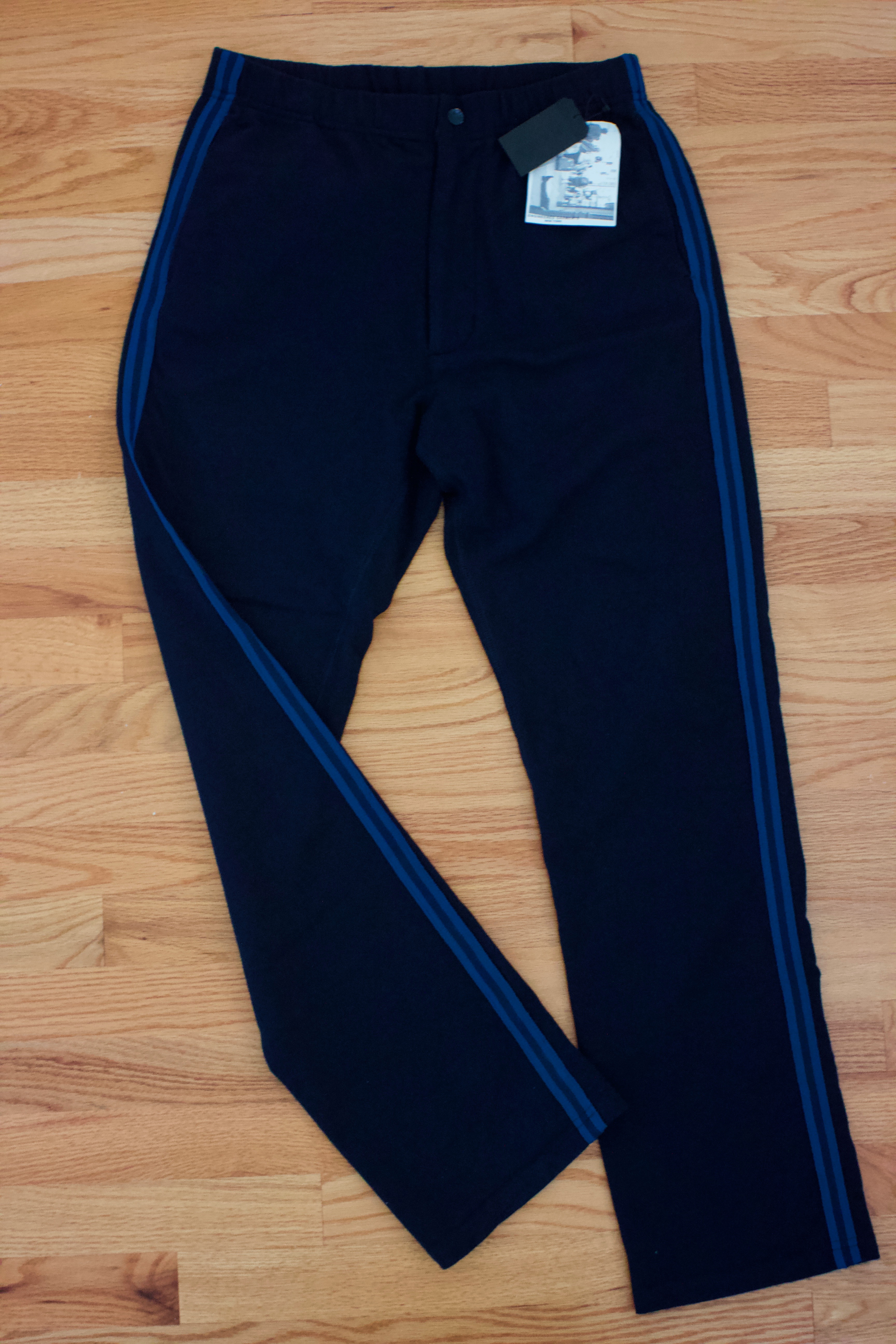 9140e4a7 Engineered Garments French Terry Track Pant Navy Side Stripe Small ...
