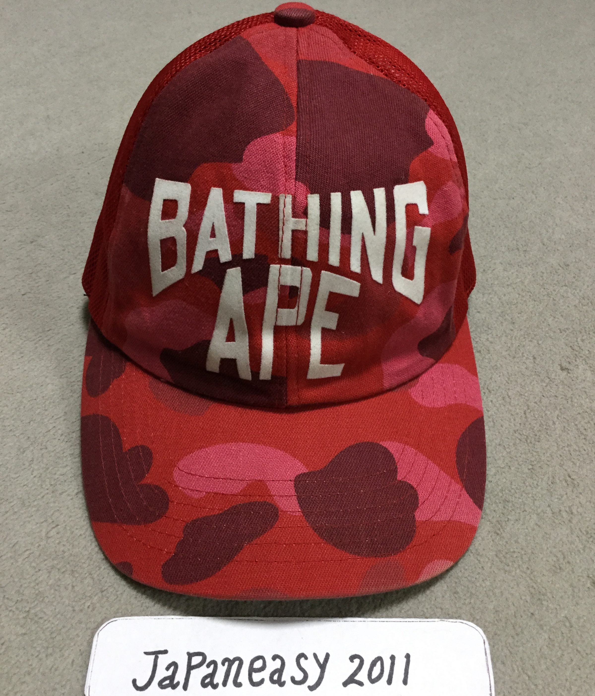 d5a95d1386c9b Bape OG RED CAMO TRUCKER HAT CAP SNAPBACK SHARK Size one size - Hats ...