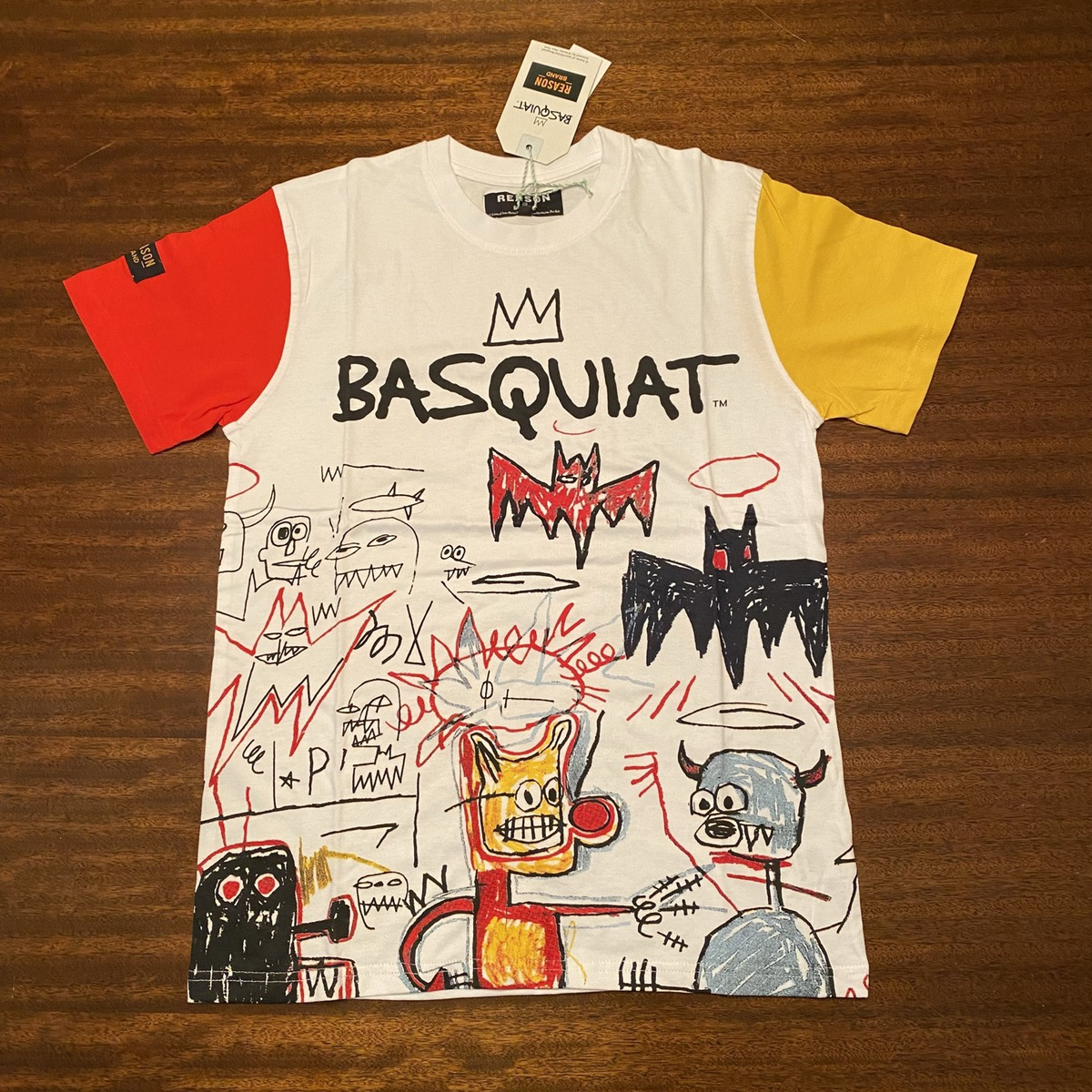New JEAN-MICHEL BASQUIAT-untitled 1985-Regular Black T-Shirt Clothing