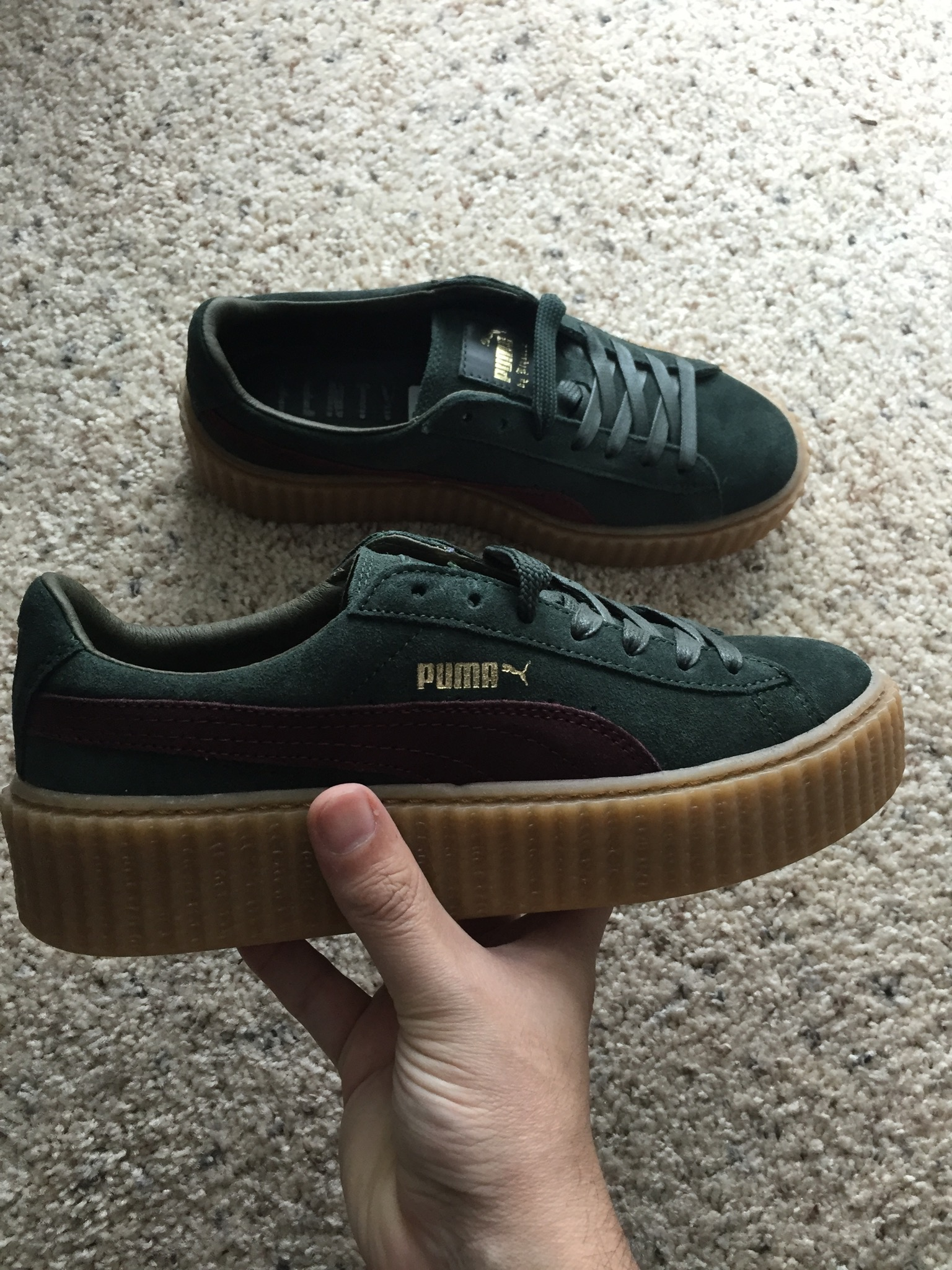 official photos bb32d 82084 Women's - The Rihanna x PUMA Creeper Green/Bordeaux/Gum