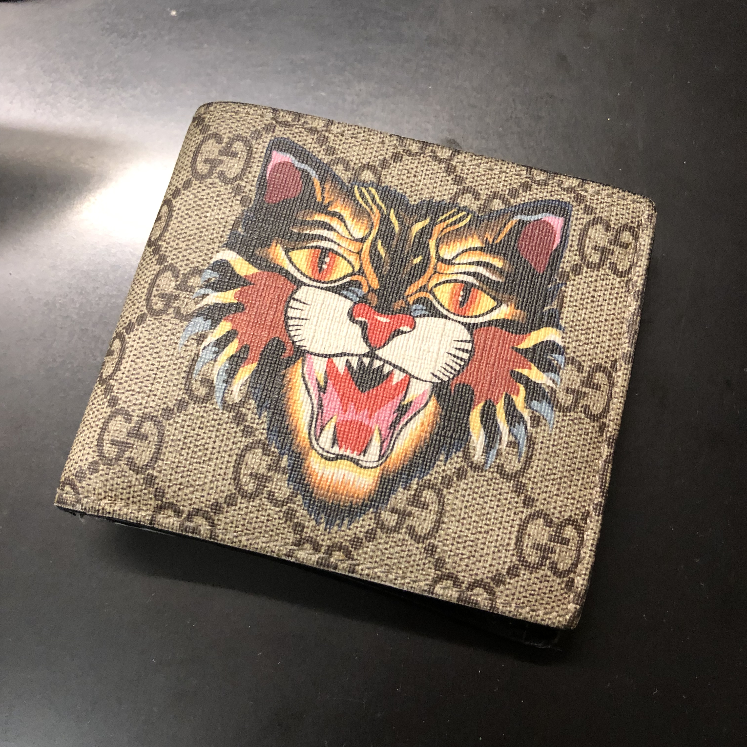 94a843b1875d Gucci Gucci Angry Cat Print Gg Supreme Wallet With Coin Pouch | Grailed