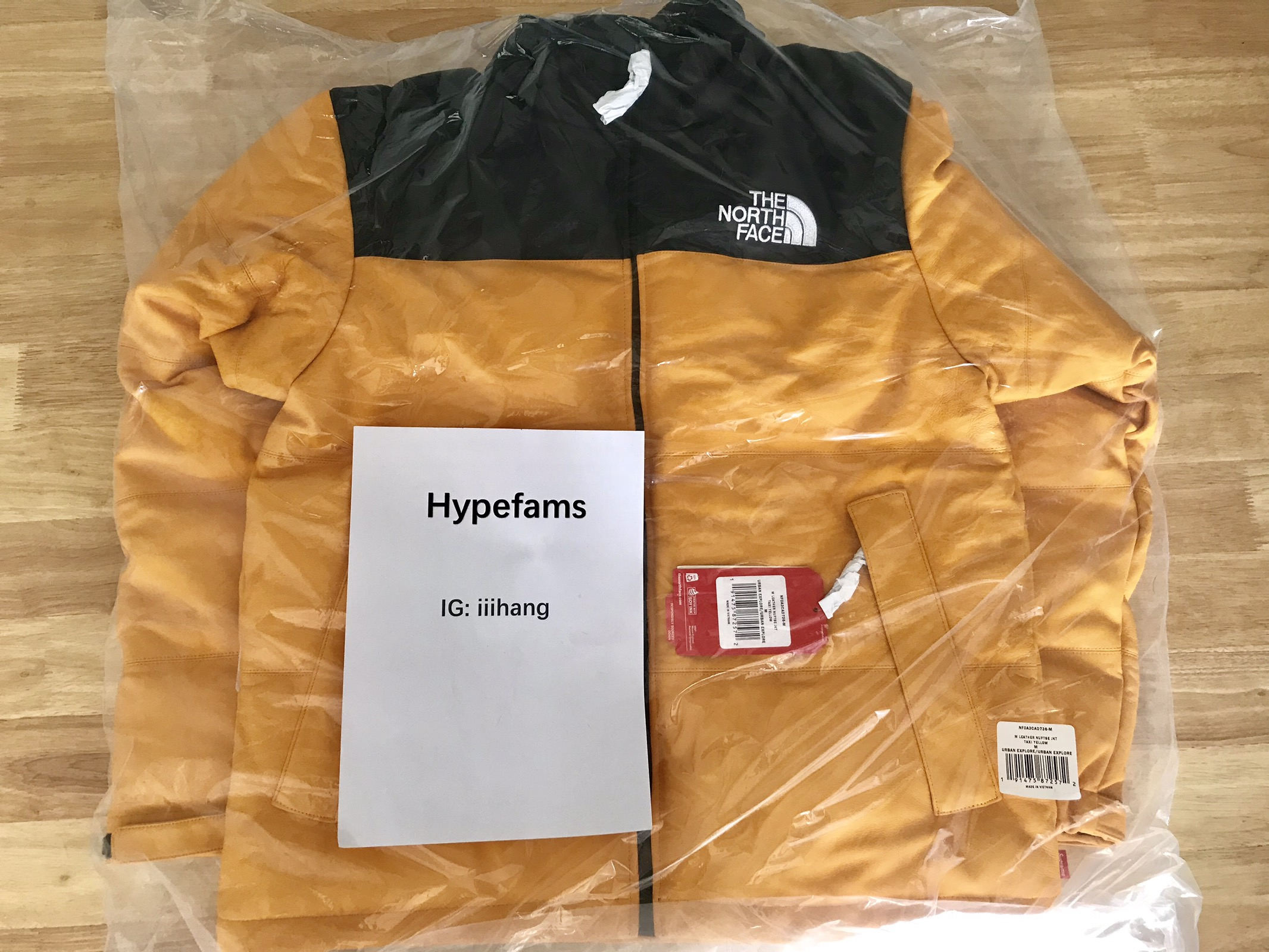 Supreme 17FW Leather Nuptse Jacket Yellow Size m - Leather Jackets for Sale  - Grailed 2ab21178a