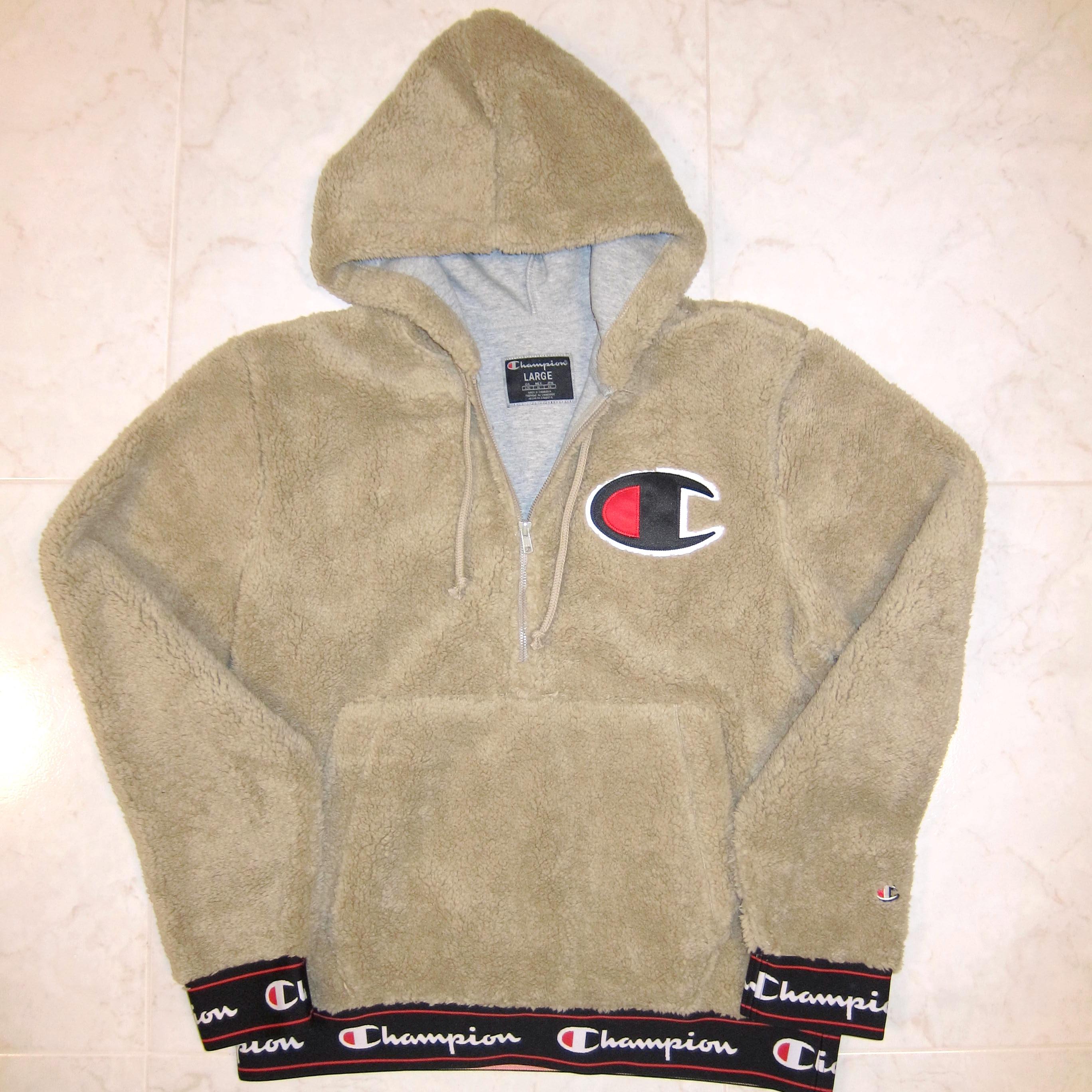494f3d436149 Champion Champion Life Khaki Sherpa Pullover Half Zip Hoodie Sweatshirt  Size l - Sweatshirts   Hoodies for Sale - Grailed