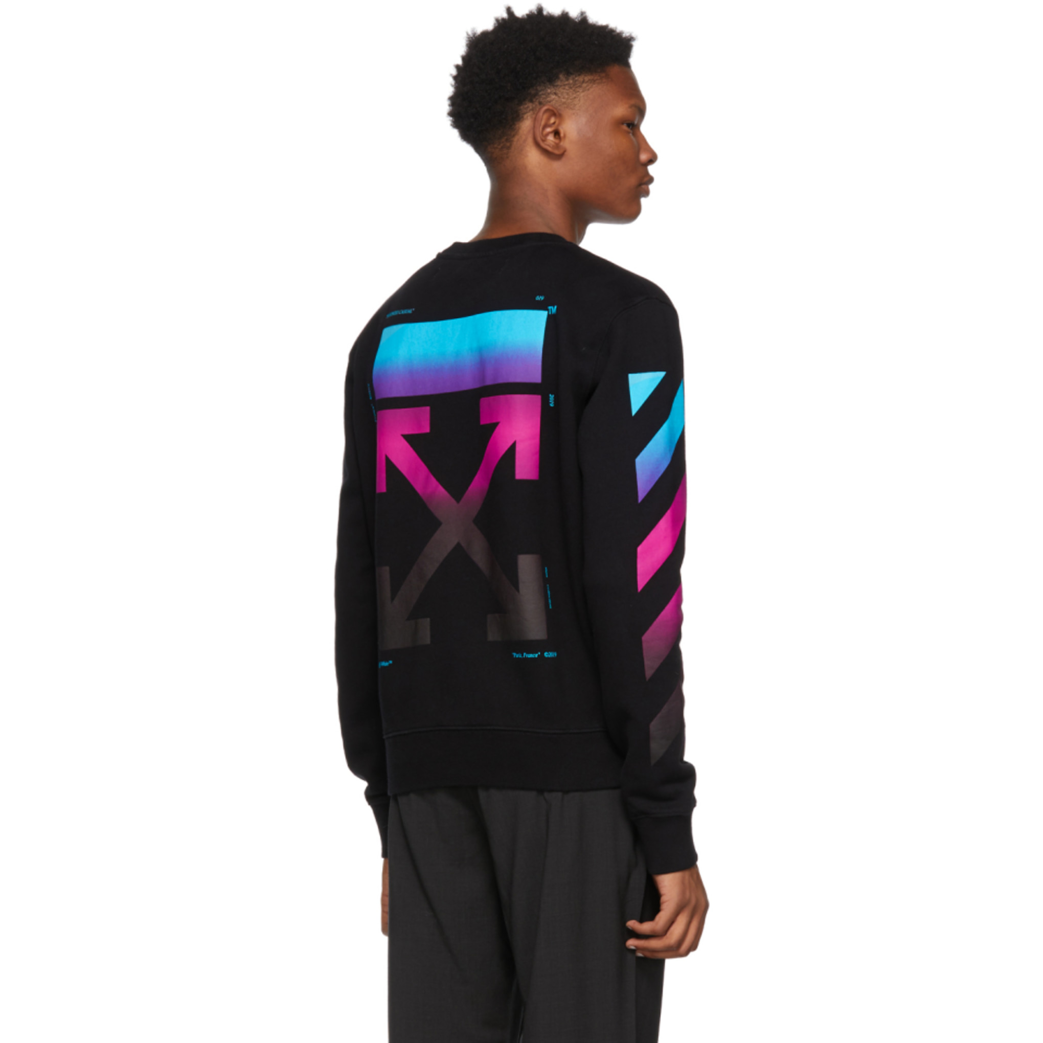 3ef818be7341 Off-White × ‼  STEAL ‼ Off White Black Diagonal Gradient Long Sleeve T-Shirt