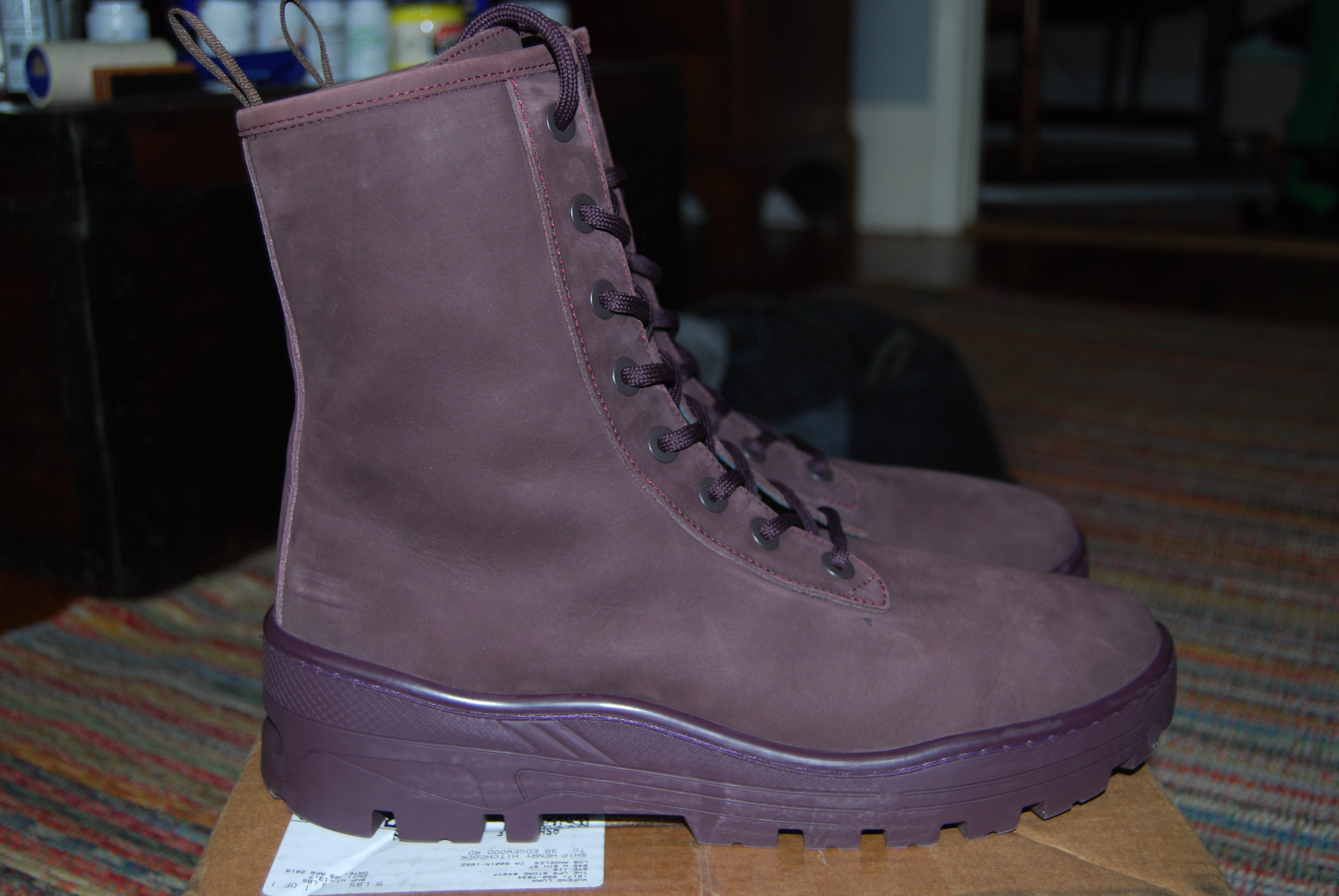 new concept a3694 566fb YEEZY BOOTS SEASON 6 LEATHER COMBAT BOOT OXBLOOD NUBUCK NEW