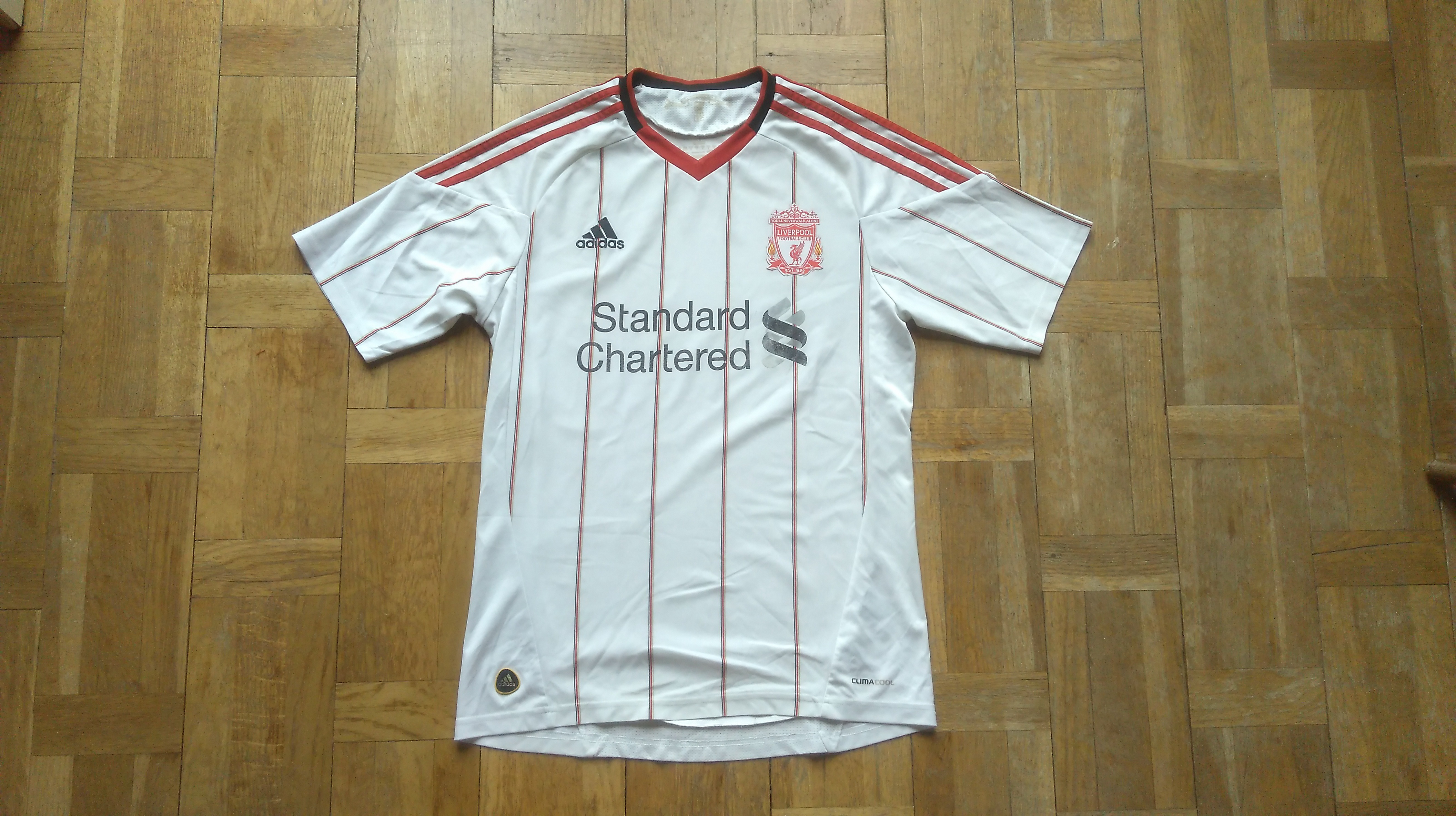 super popular f24cc 4dae2 LFC ADIDAS JERSEY Soccer Shirt Liverpool Football Club Jersey White  Football Jersey Size Small Standard Chartered Jersey Free Shipping