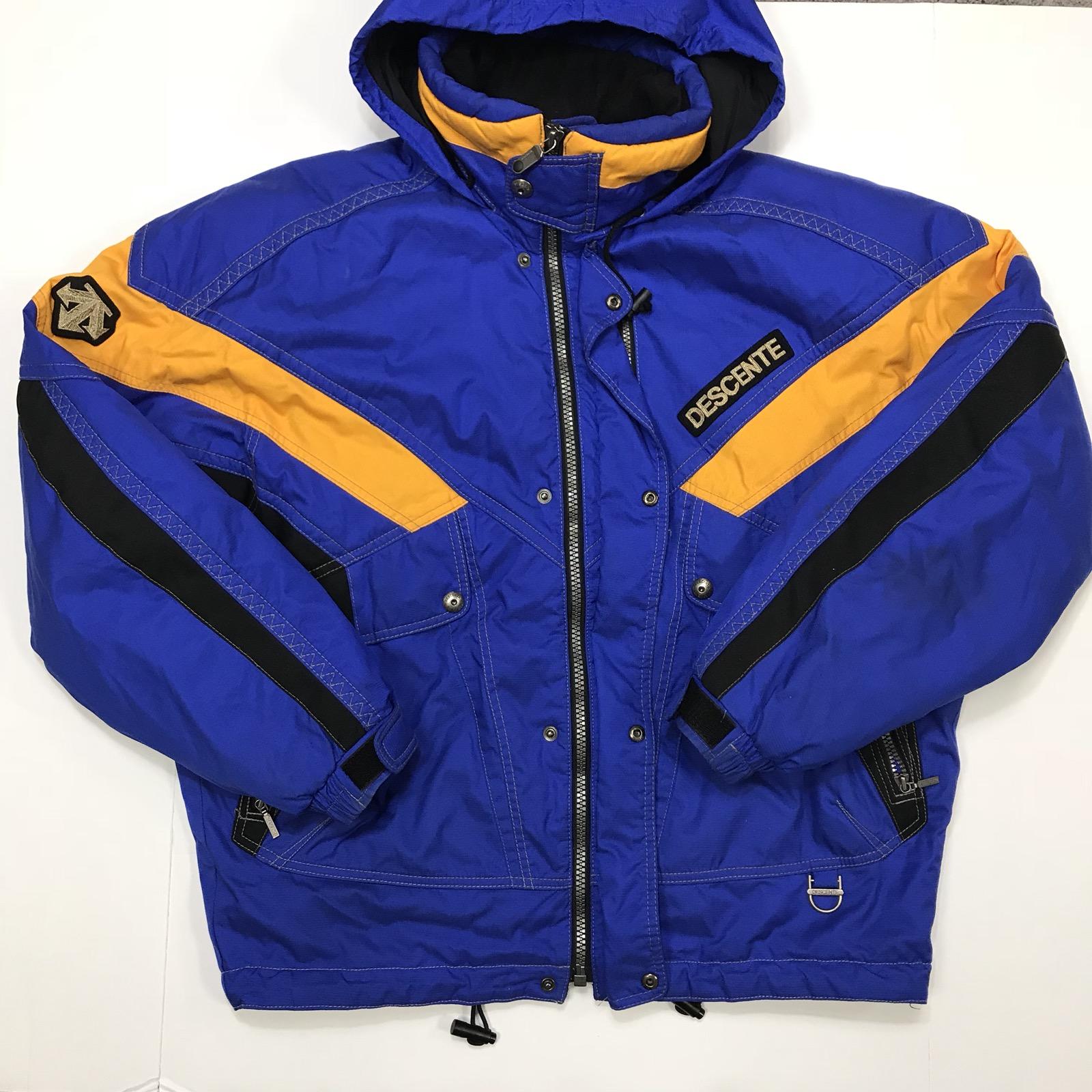 Vintage 80/'s 90/'s DESCENTE Retro Oversized Colourblock Blue Turquoise Winter Ski  Jacket Snowboarding Puffer size L  52 men