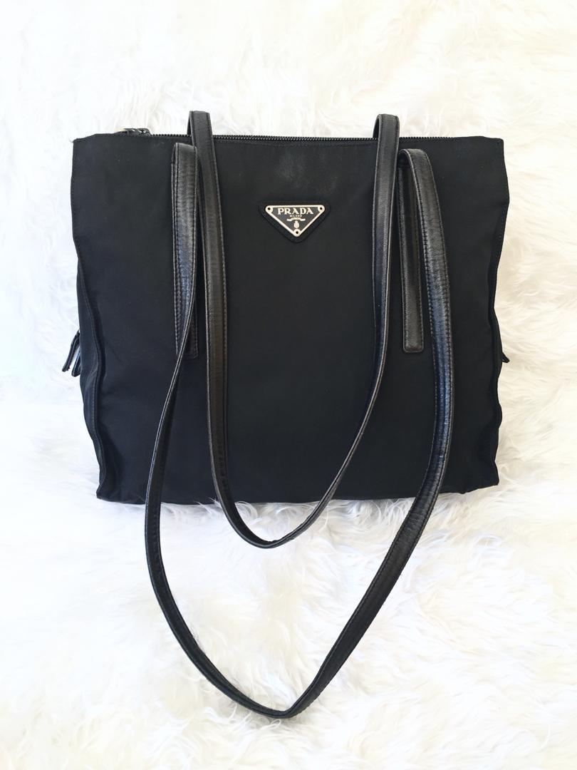 01f5399e5089b5 Prada Prada Vela Black Nylon Shopper Tote Bag | Grailed