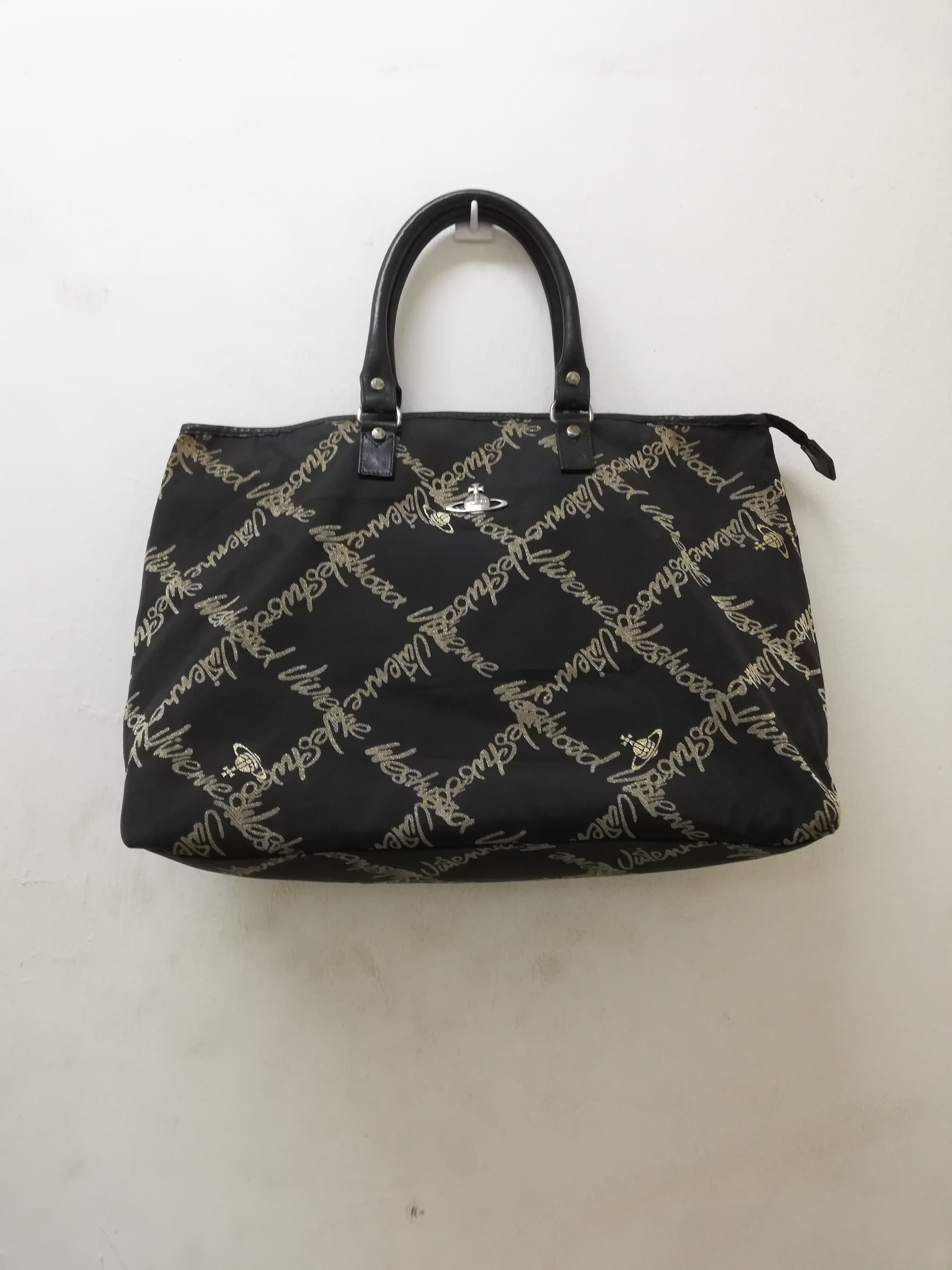 Rare Vivienne Westwood Full Monogram Spell Out Travel Hand Carry Bag