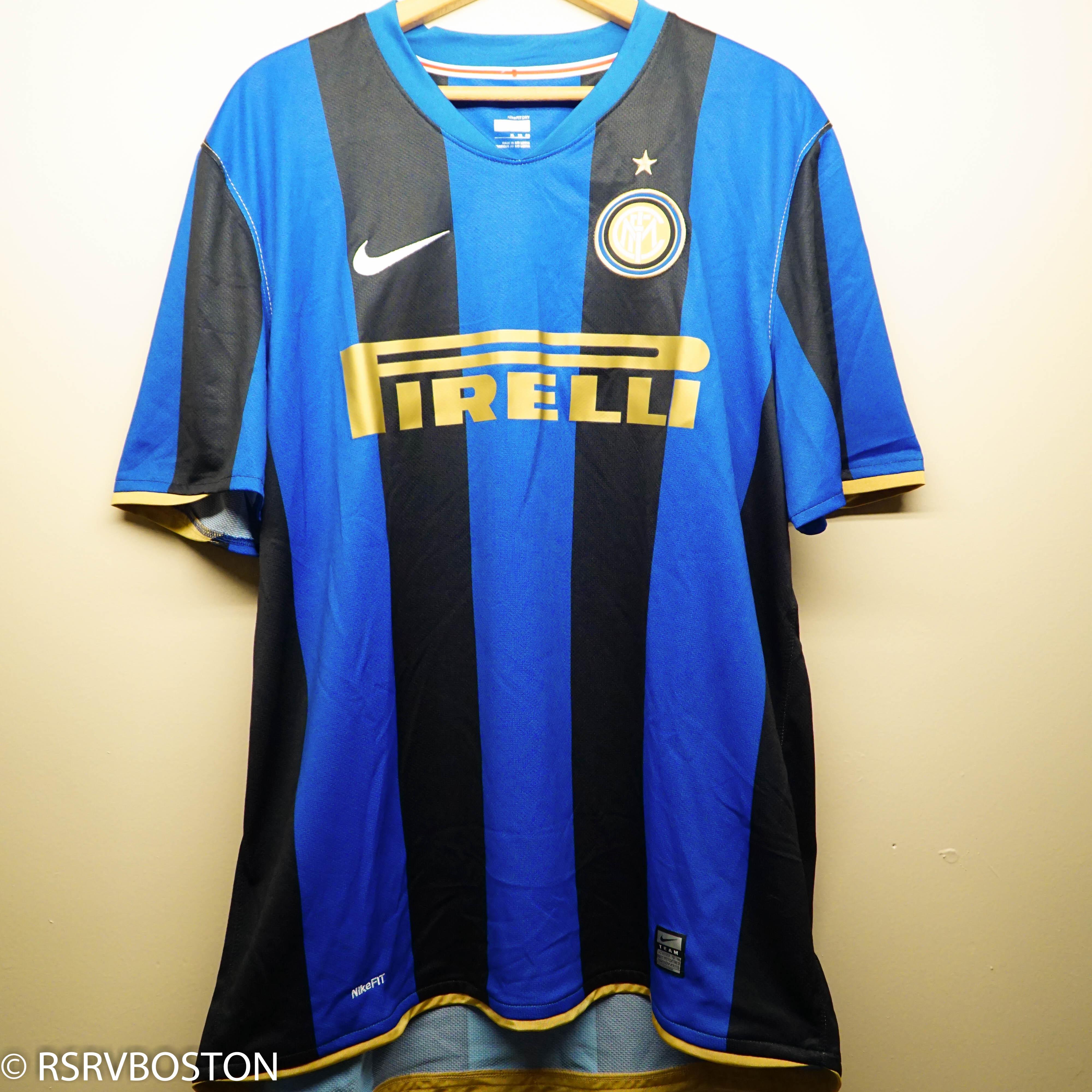 finest selection 076c0 f27a8 Inter Milan 2008-2009 Home Jersey Blue Black Stripes Soccer Pirelli