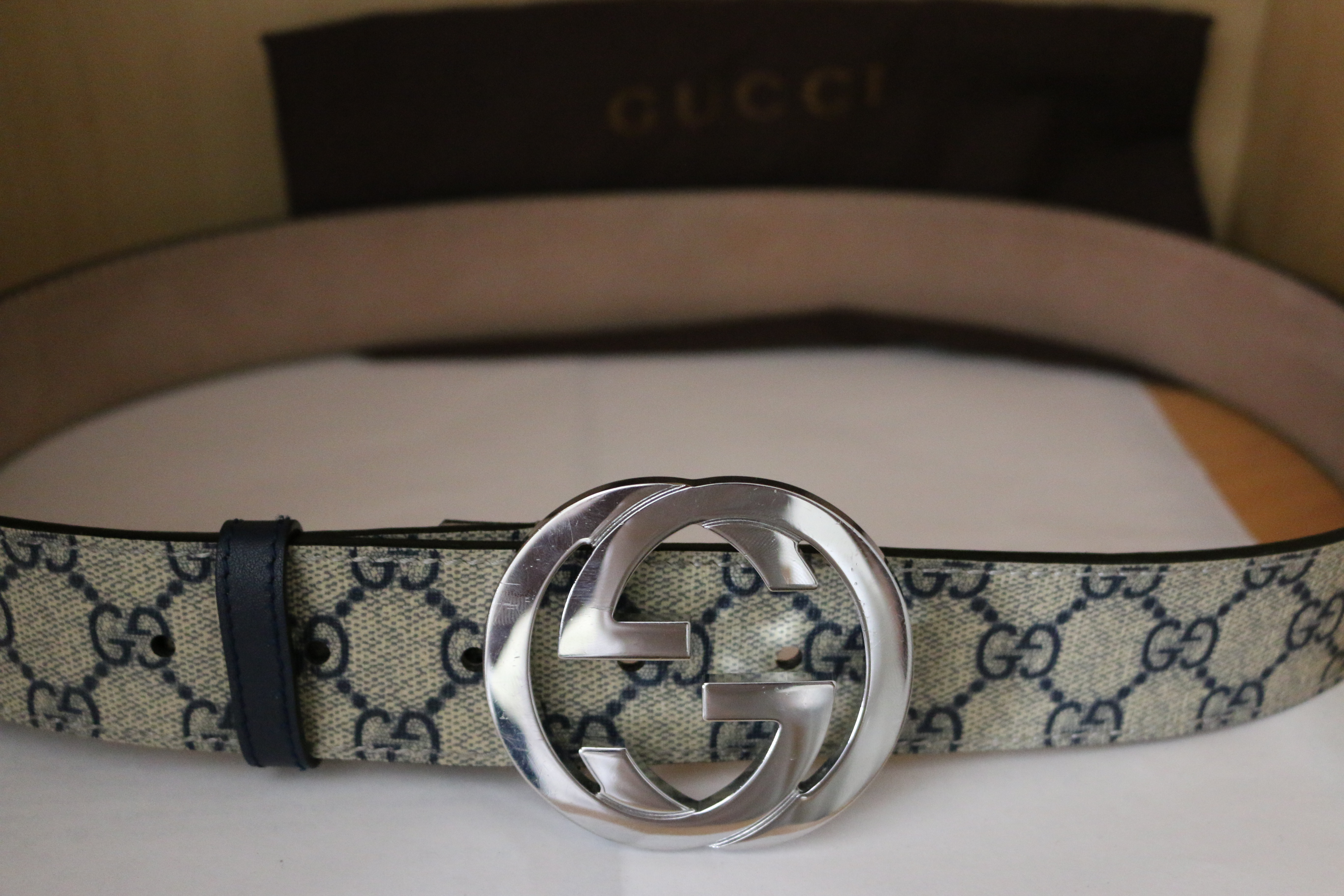 55ebc5a64 Gucci Men's Gg Supreme Belt With G Buckle Navy Blue And Beige | Grailed
