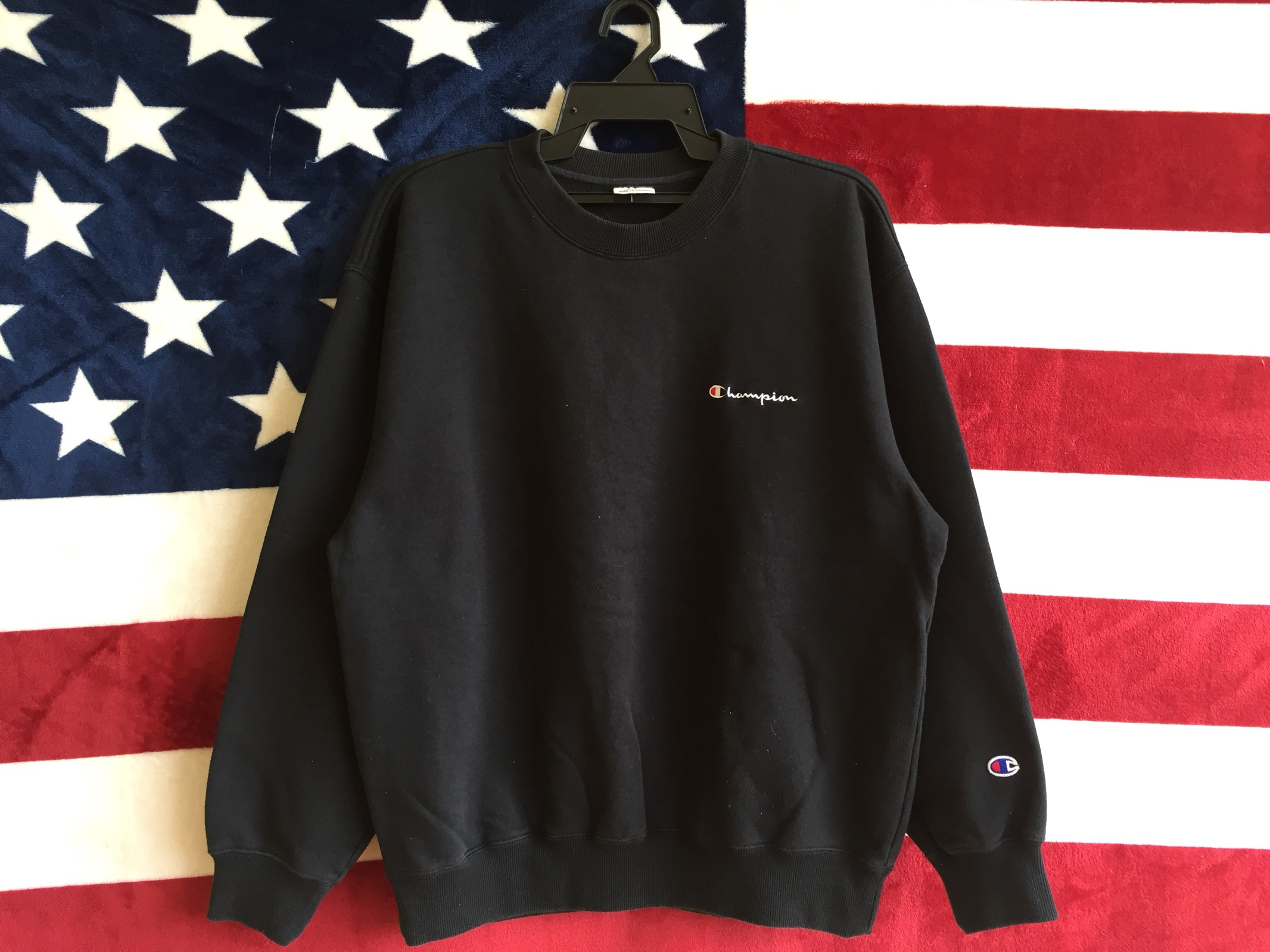 0a701a0e0a15 Champion Vintage 90s Champion Spell Out Small Logo Sweater Pullover Champion  Script Logo Sweatshirt Champion Black Colour Crewneck Large Size Size l ...