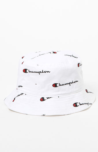 Champion WHITE Champion All Over Repeat Logo Monogram Logo Vintage Bucket  Hat  Sun Hat   Festival Hat  fb10bd00341