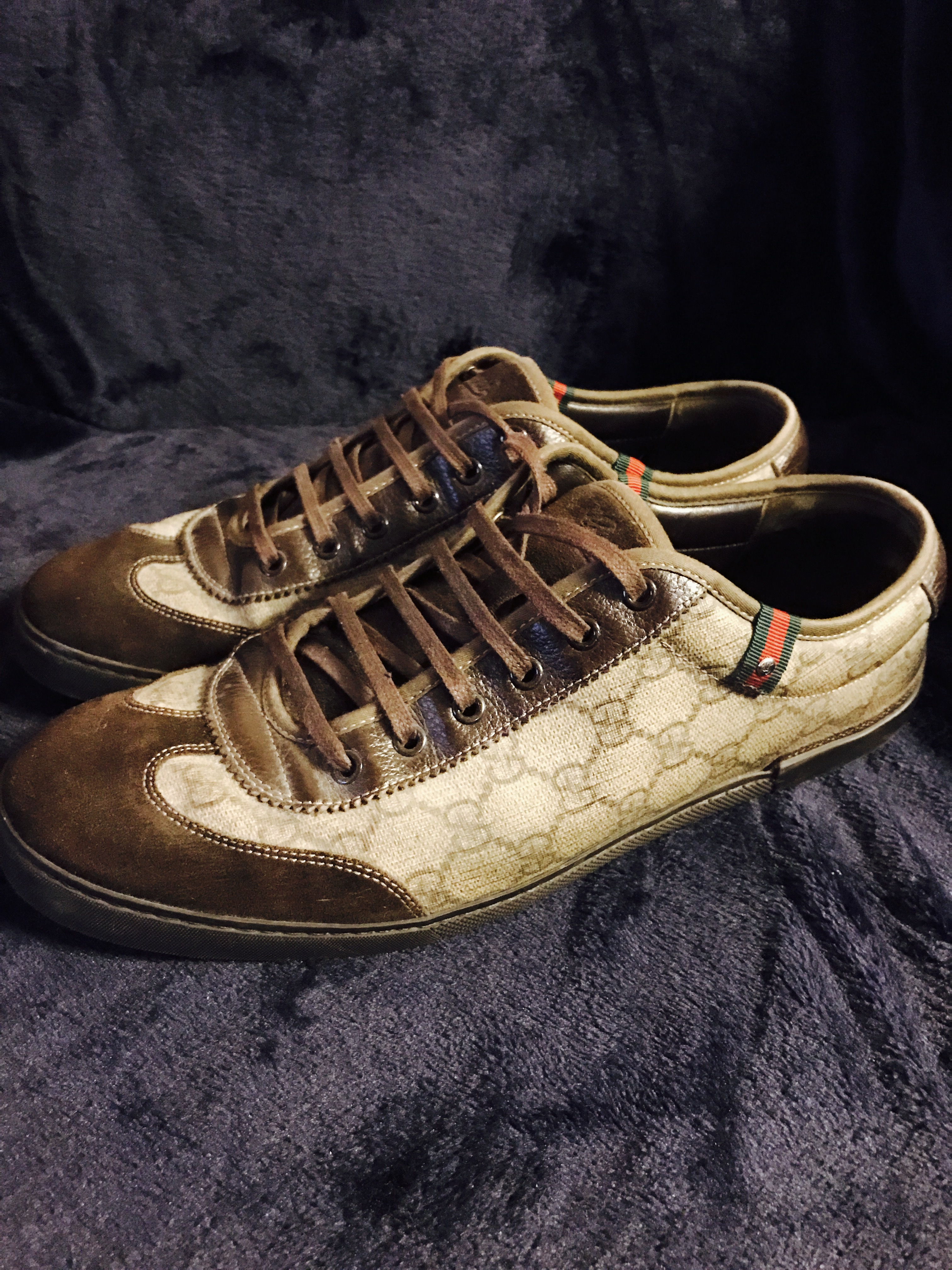 c70b4a0b3 Gucci Used Gucci Mens Gg Plus Barcelona Sneakers Sz 11.5 Brown ...